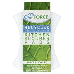 Pack of 3 EcoForce Recycled Non Scratch Scourer Pads