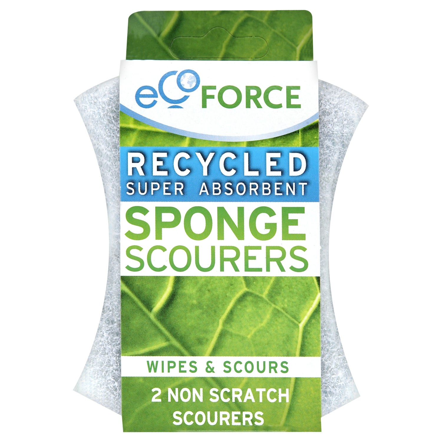 Pack of 2 EcoForce Recycled Super Absorbent Non Scratch Scourers