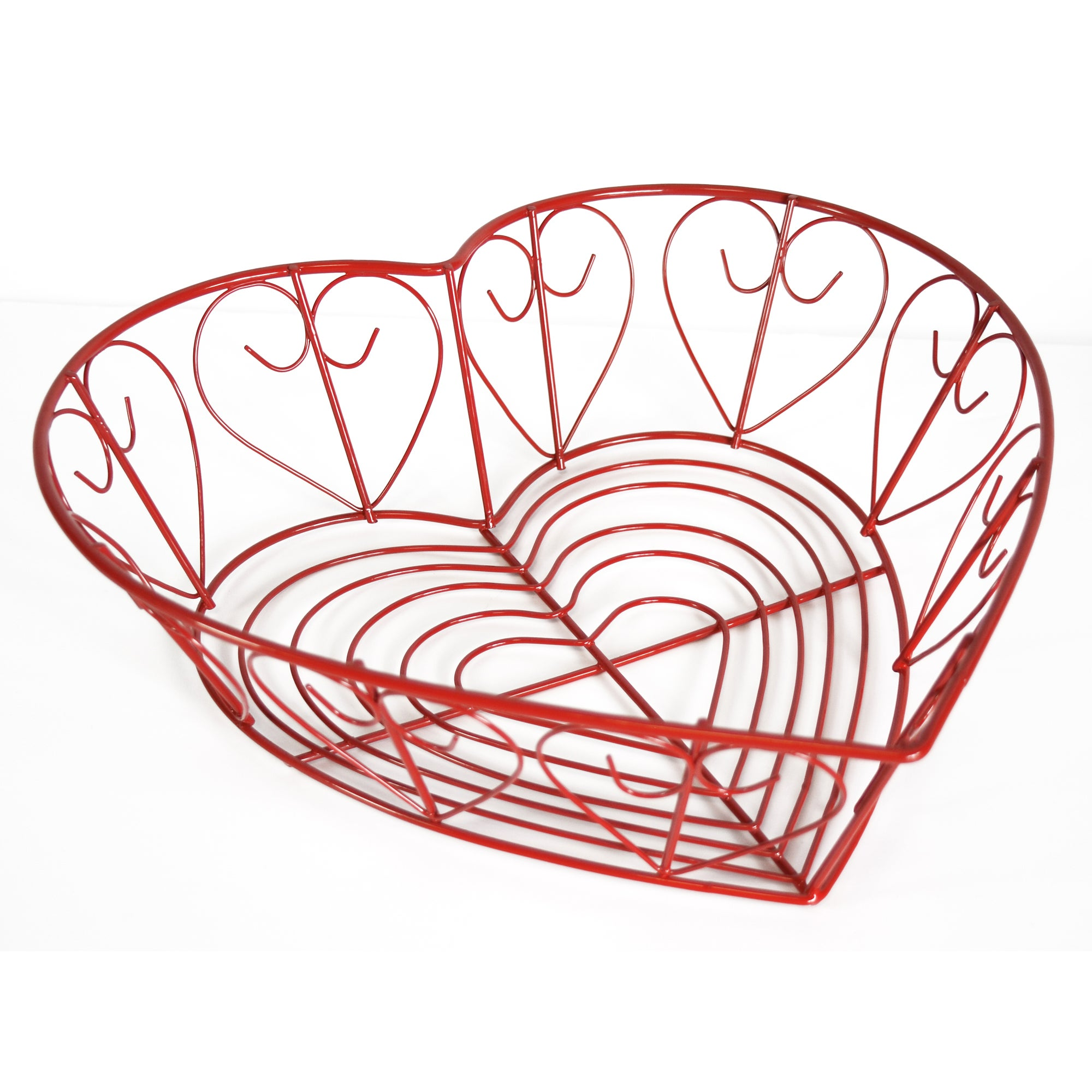 Cookshop Collection Heart Shaped Red Wire Basket
