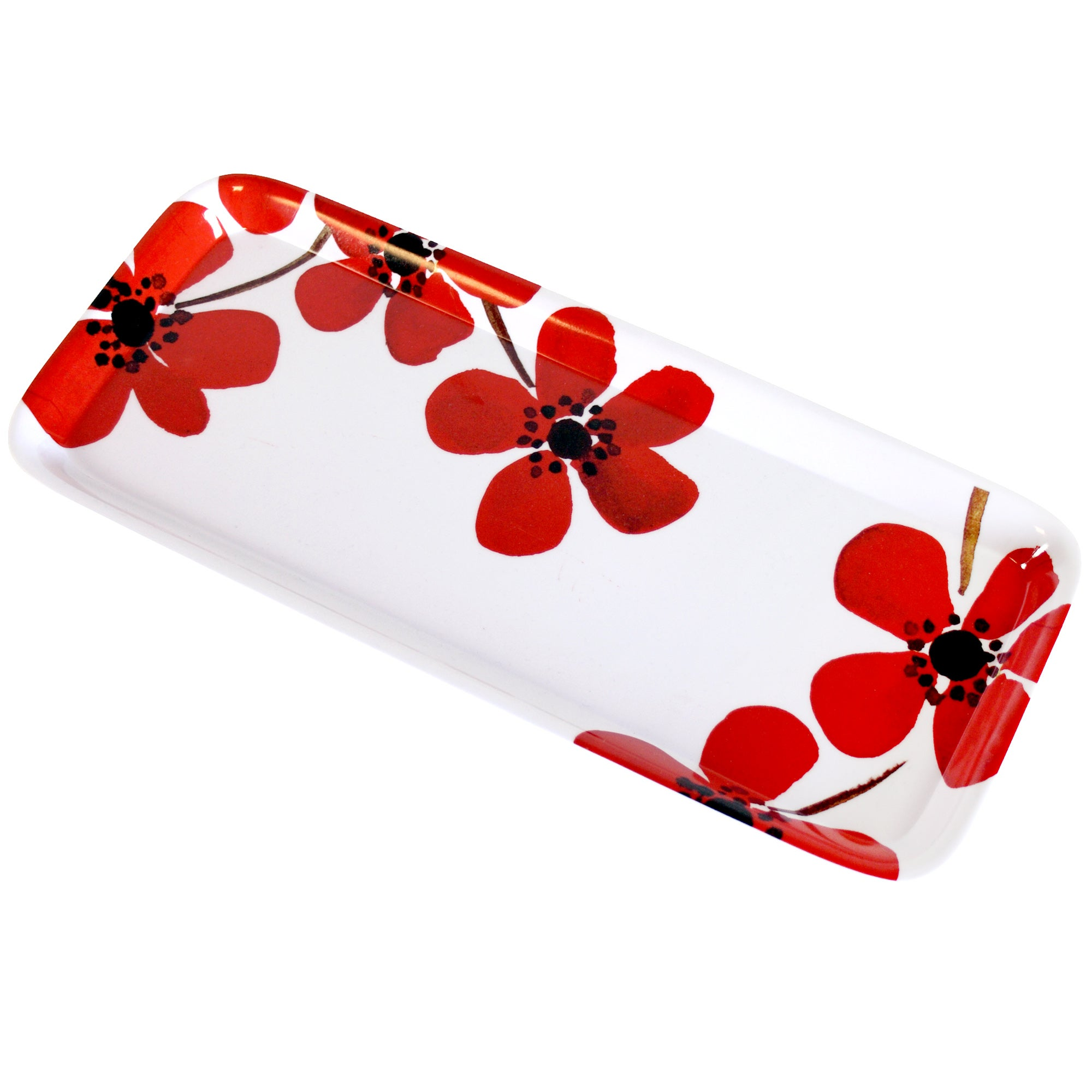 Red Painted Poppy Collection Sandwich Tray