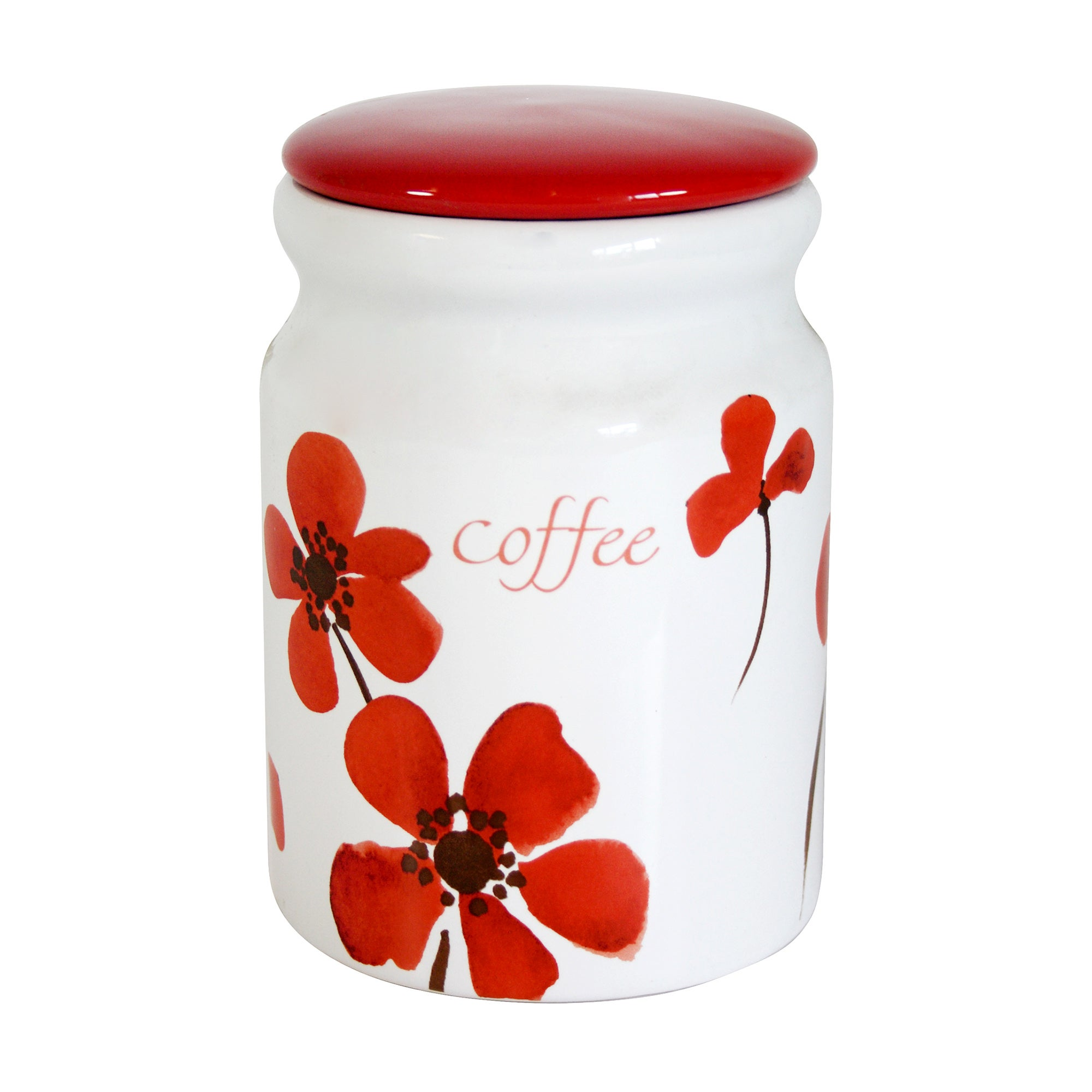 Red Painted Poppy Collection Coffee Storage Jar