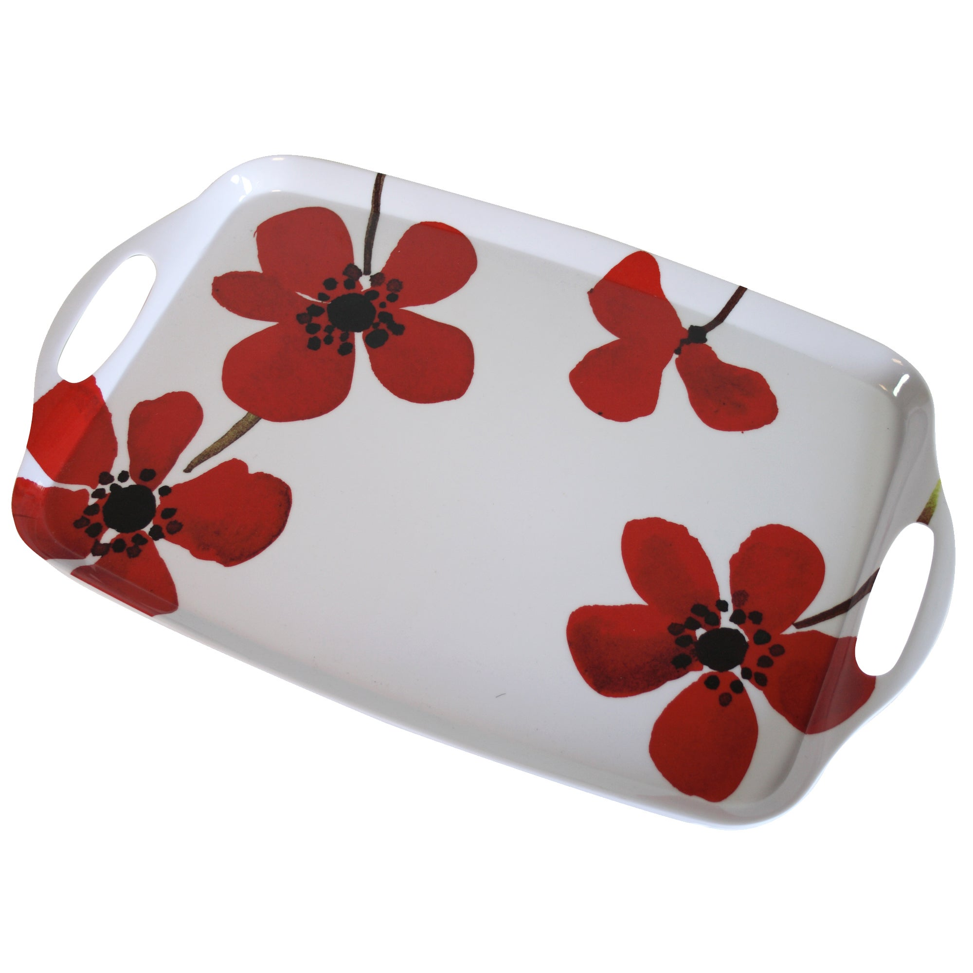 Red Painted Poppy Collection Tea Tray