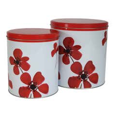 Red Painted Poppy Collection Set of 2 Storage Tins