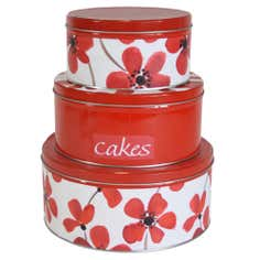 Red Painted Poppy Collection Set 3 Cake Storage Tins
