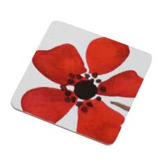 Red Painted Poppy Collection Set of 4 Coasters