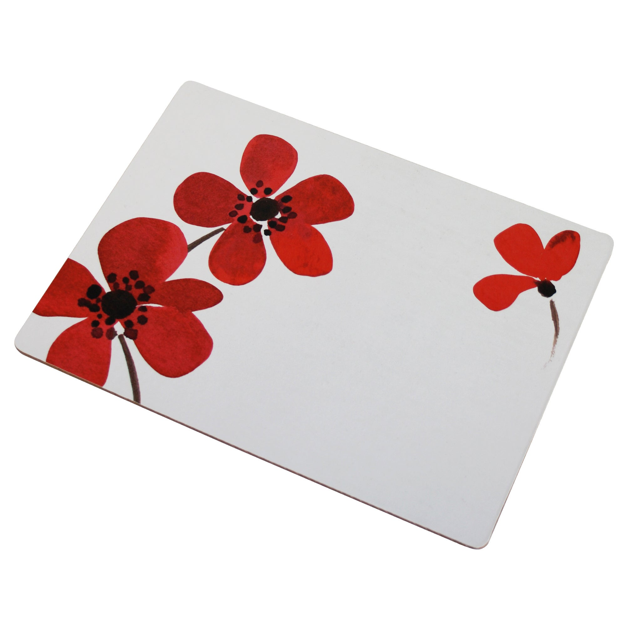 Red Painted Poppy Collection Set of 4 Placemats