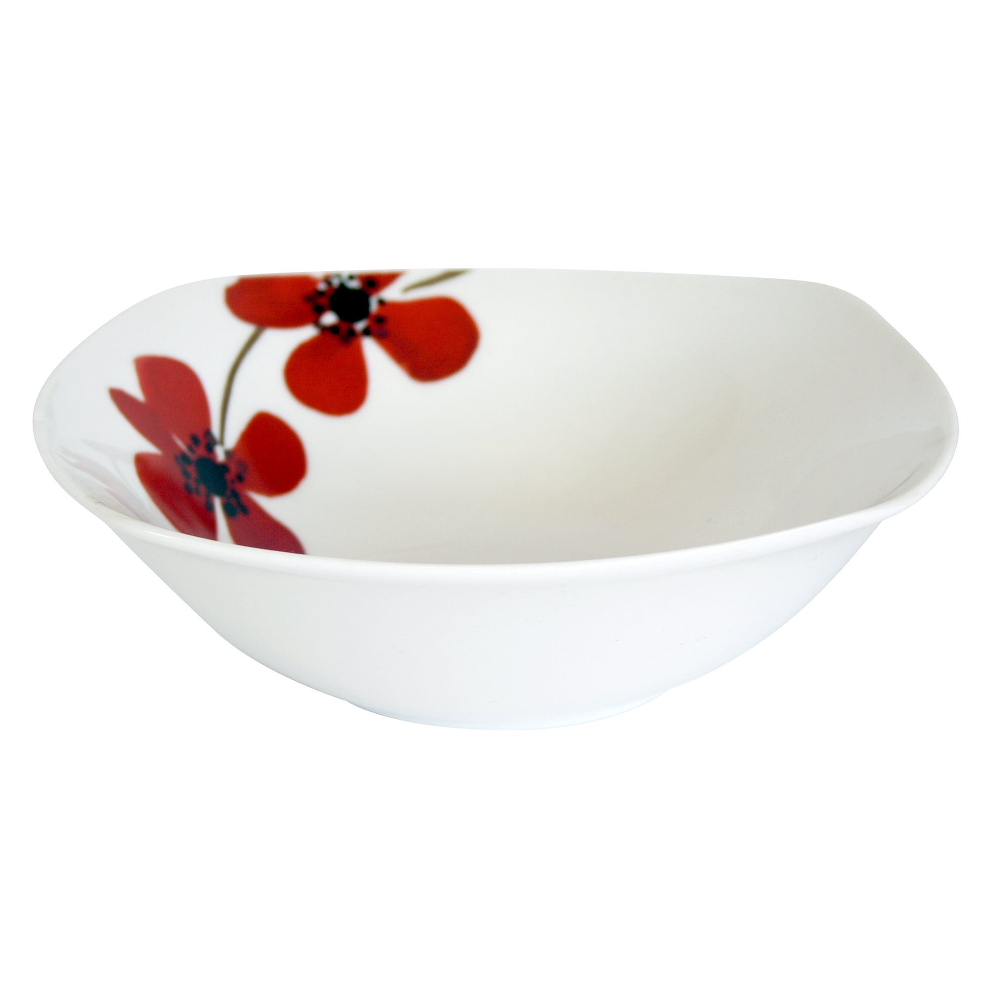Red Painted Poppy Collection Square Bowl