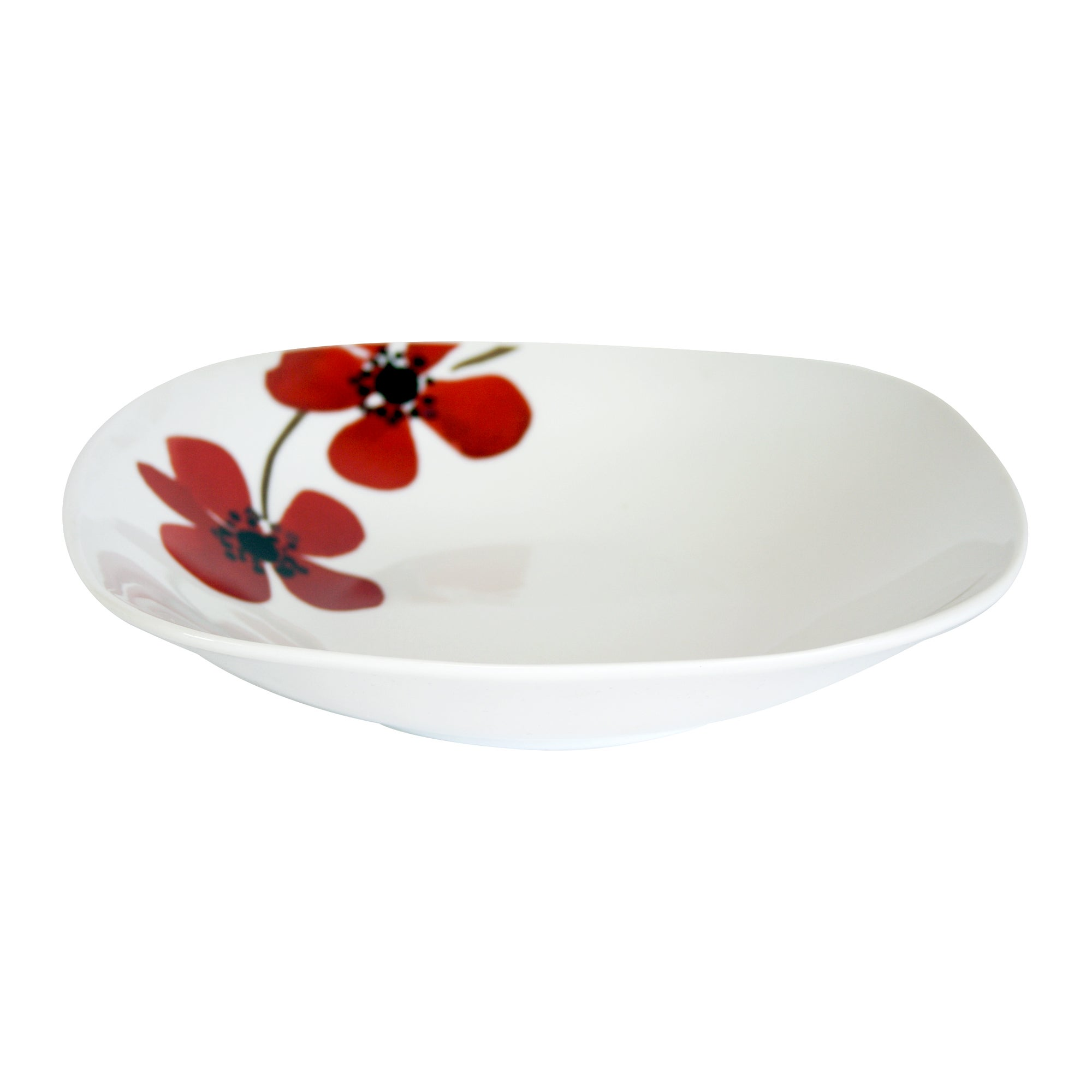 Red Painted Poppy Collection Square Pasta Bowl