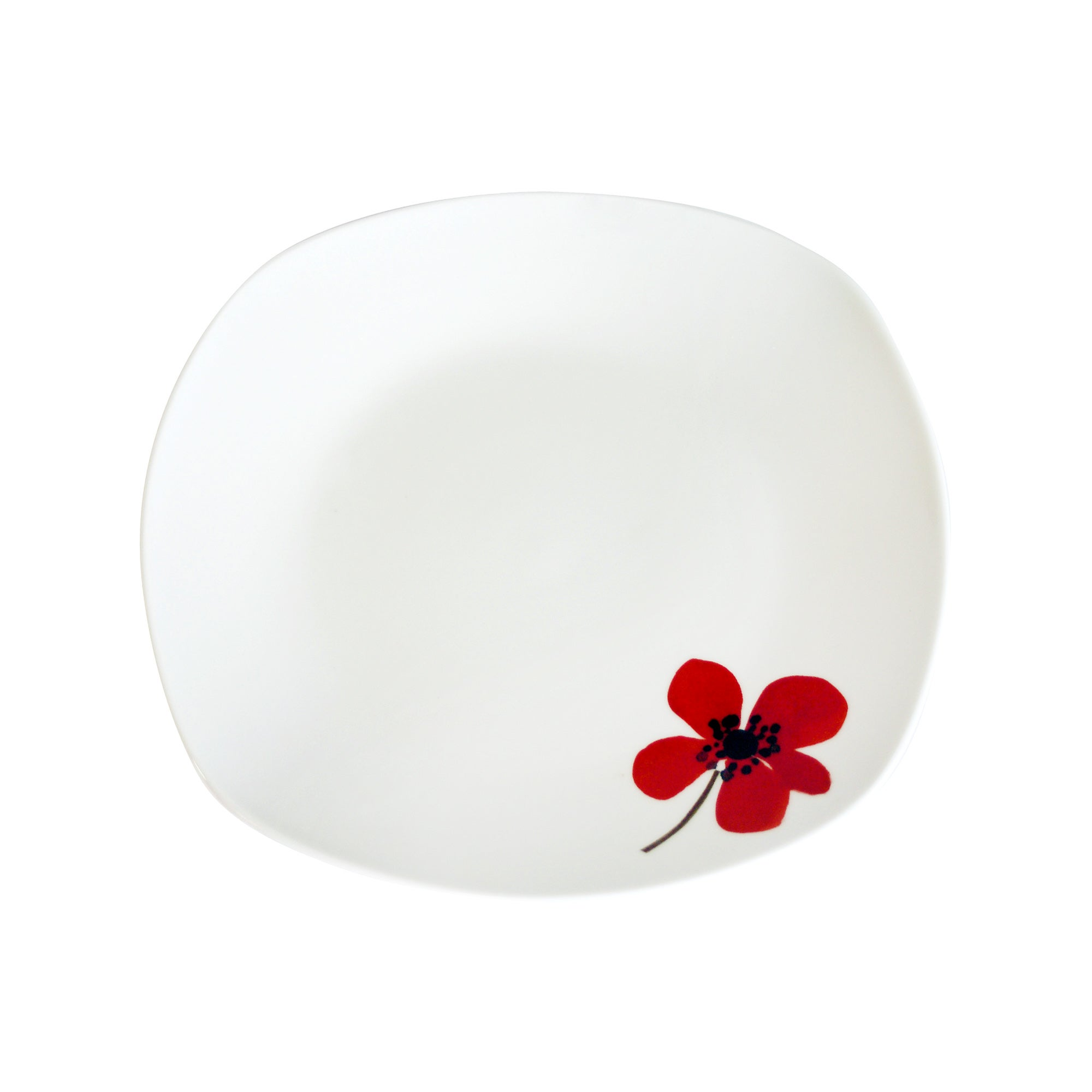 Red Painted Poppy Collection Square Side Plate