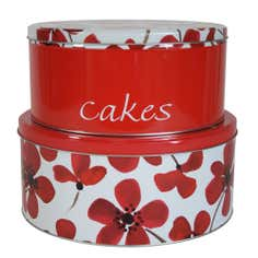 Red Painted Poppy Collection Set of 2 Cake Storage Tins