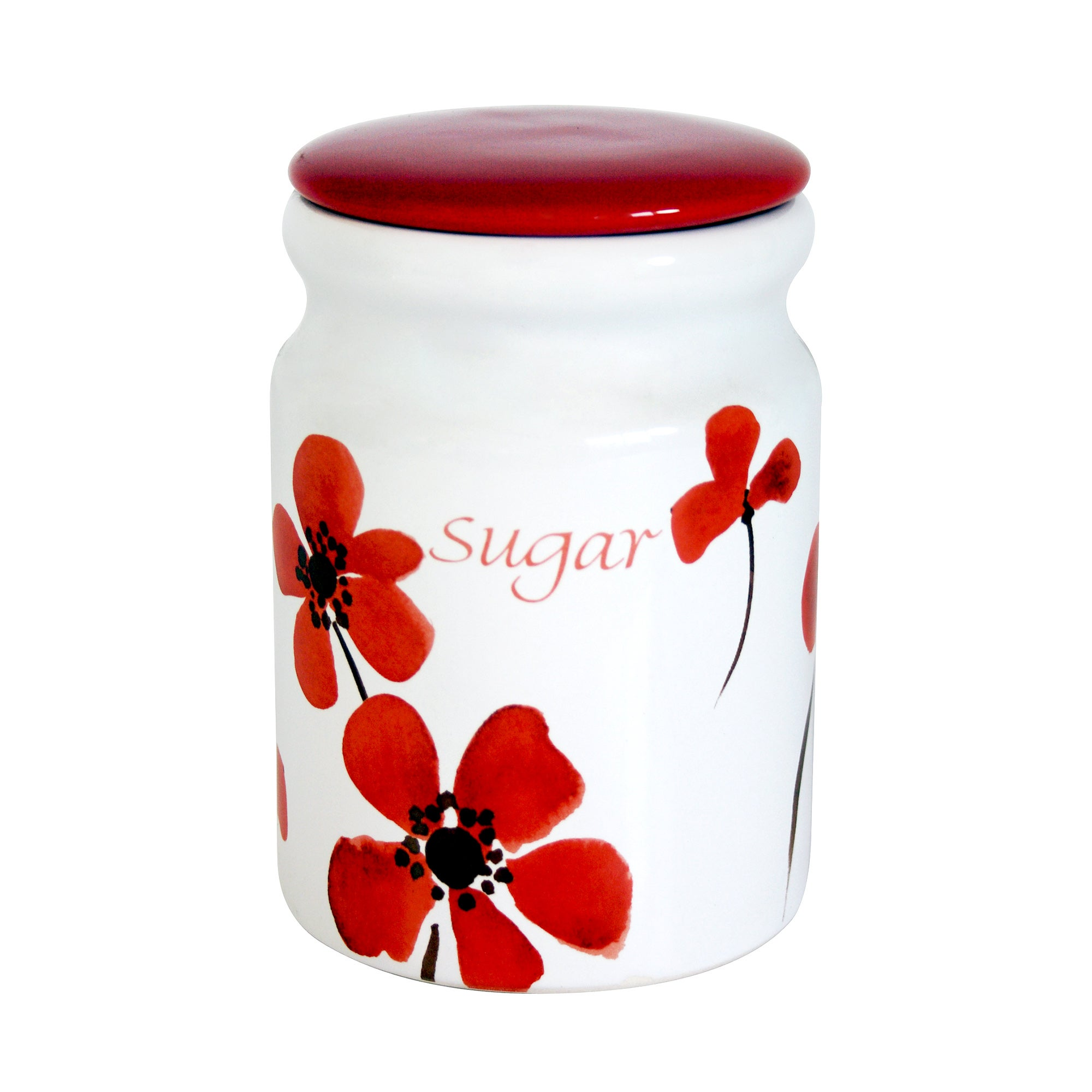 Red Painted Poppy Collection Sugar Storage Jar