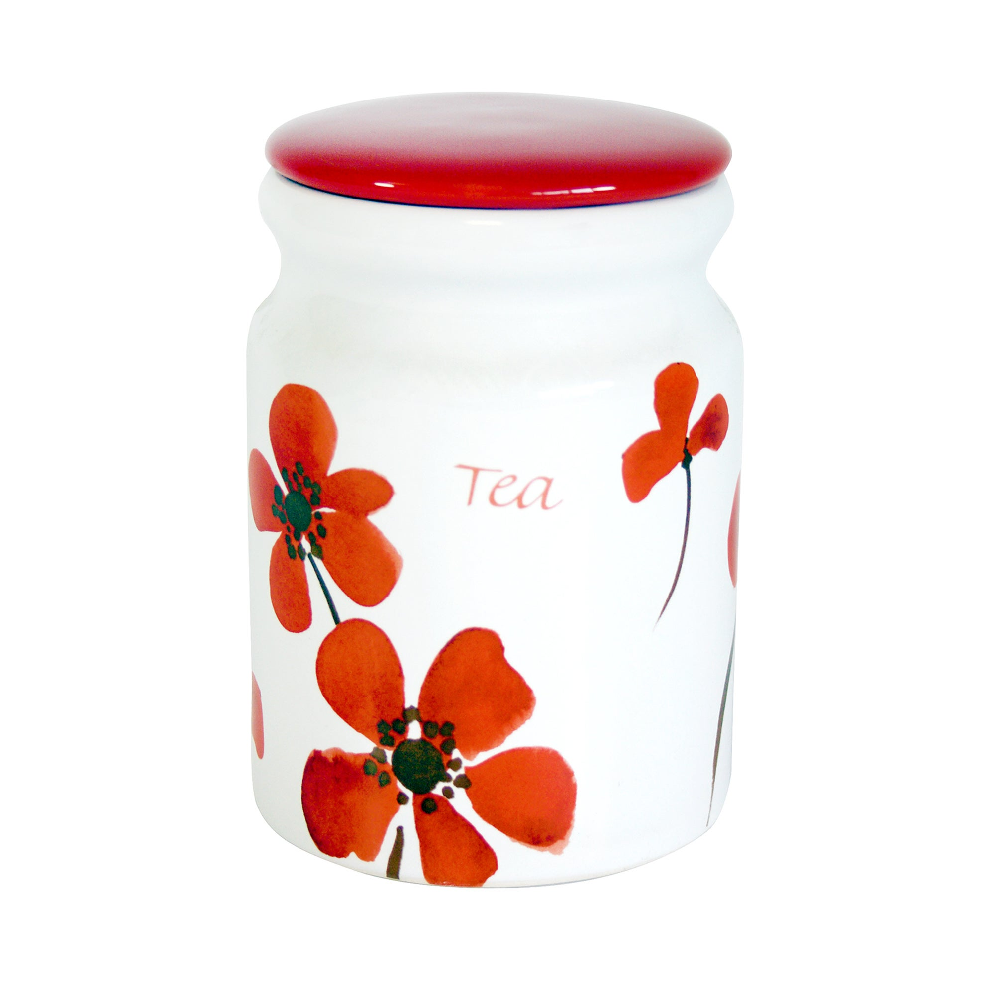 Red Painted Poppy Collection Tea Storage Jar
