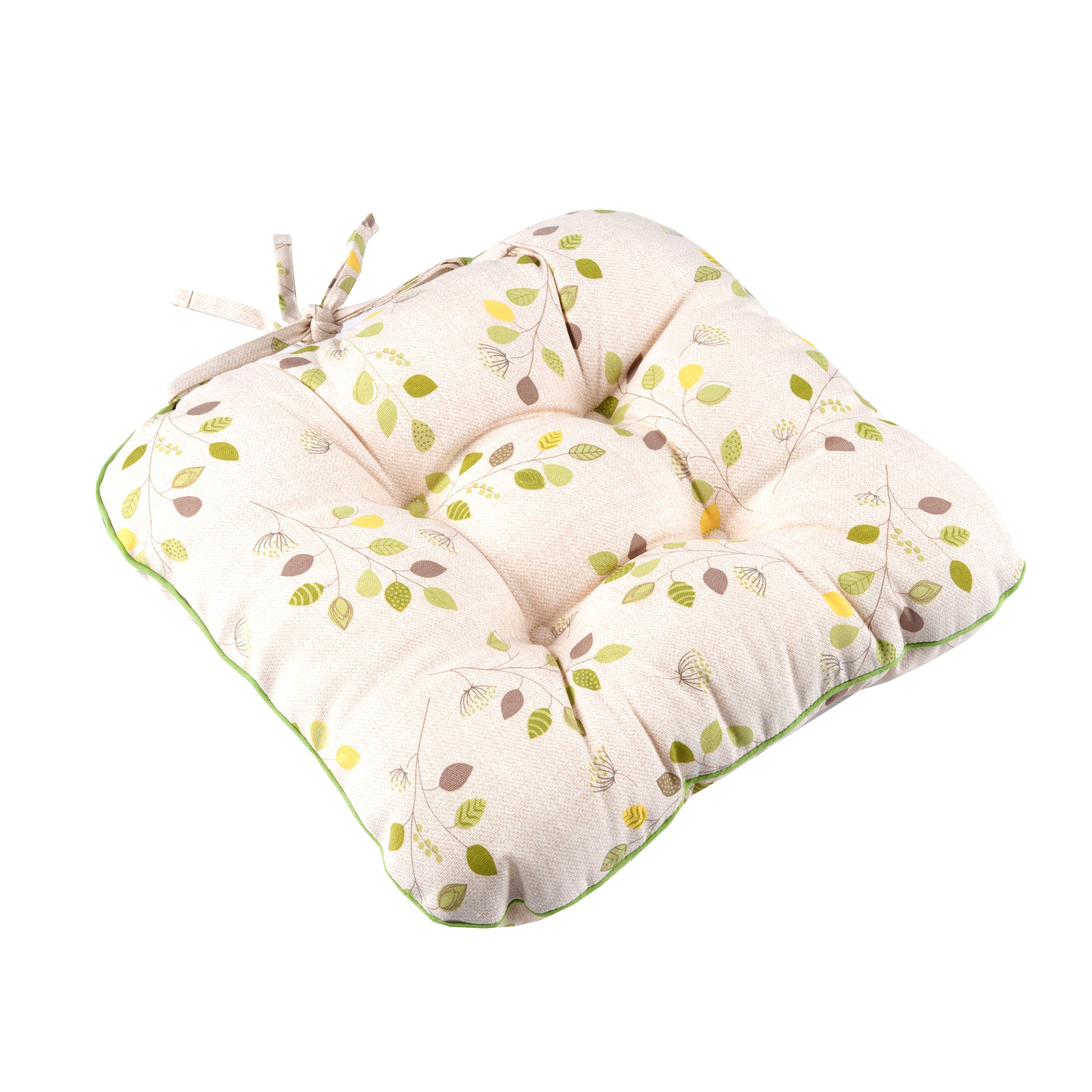 Green Modern Country Leaf Collection Seat Pad
