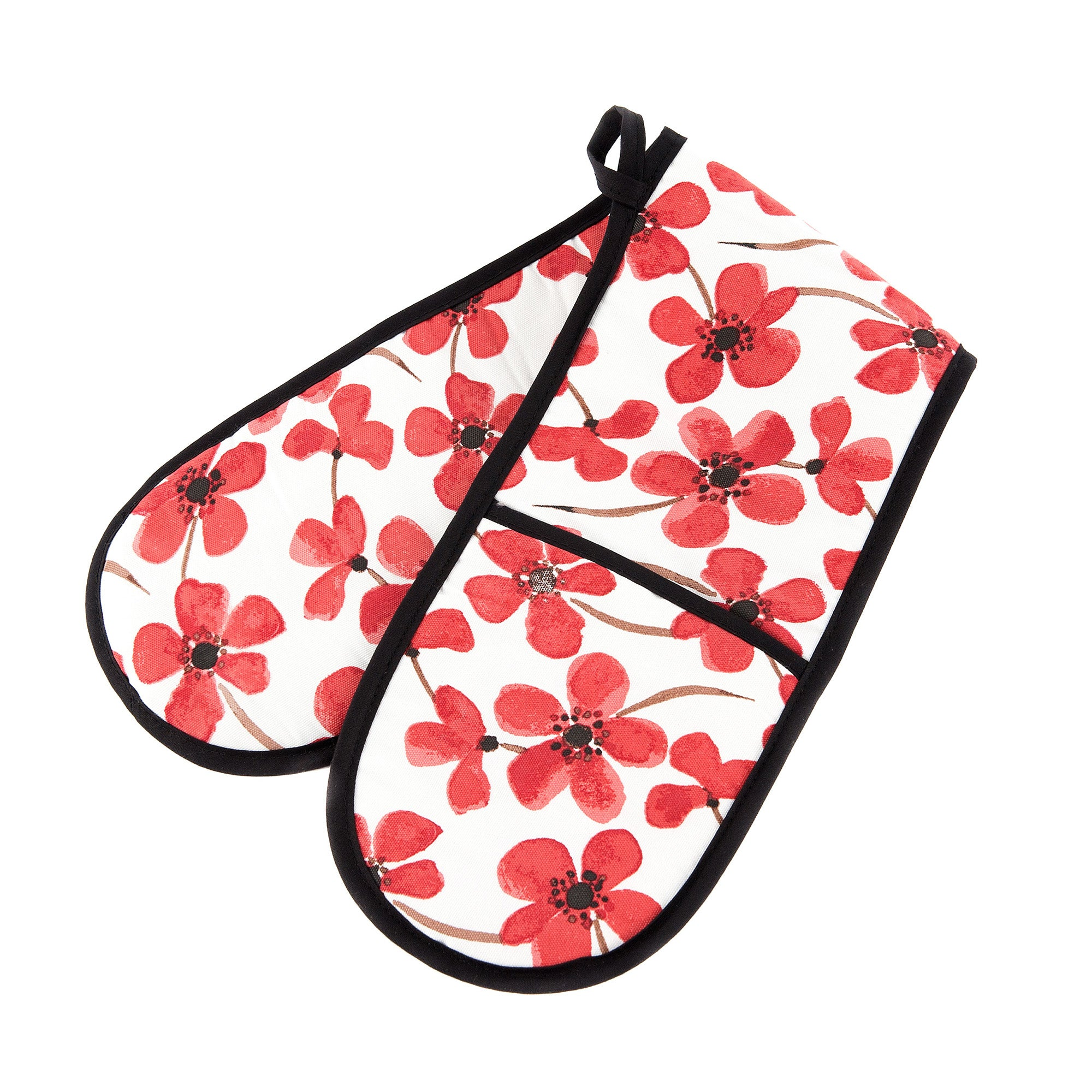 Red Painted Poppy Collection Double Oven Glove
