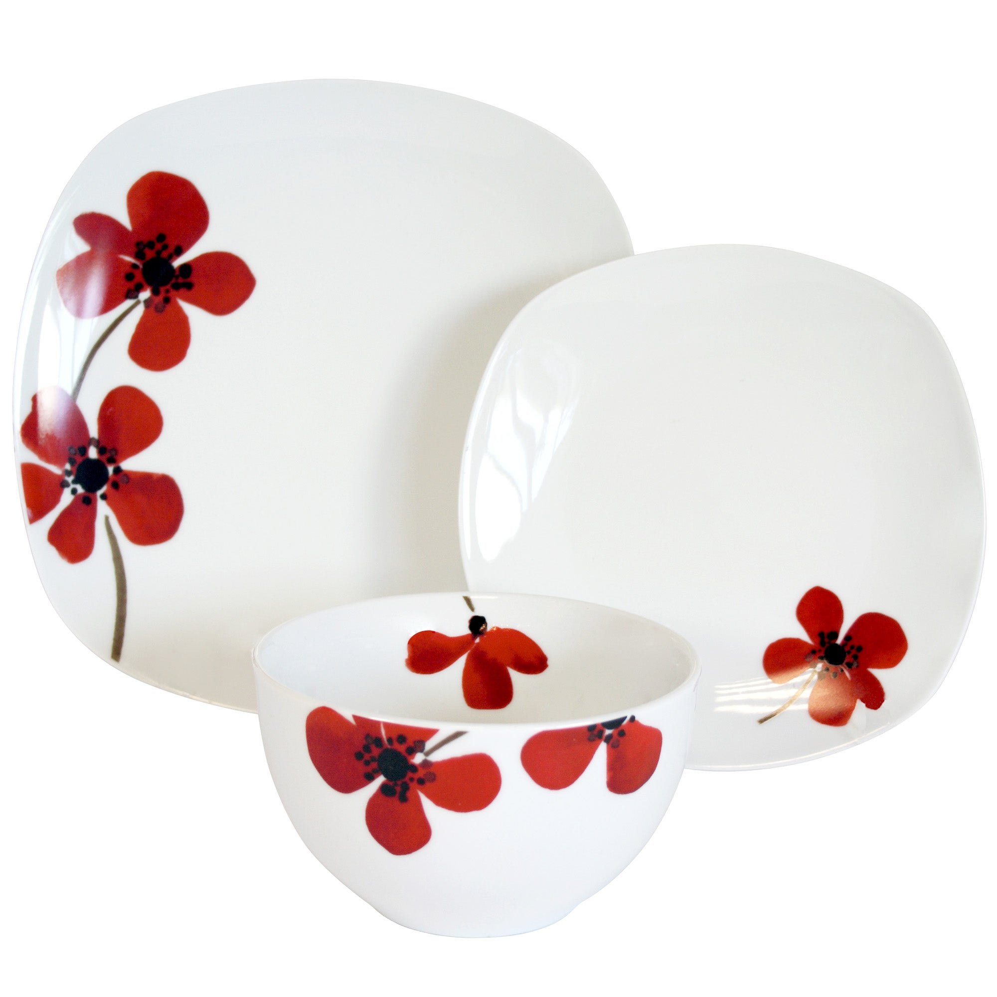 Red Painted Poppy Collection 12 Piece Dinner Set