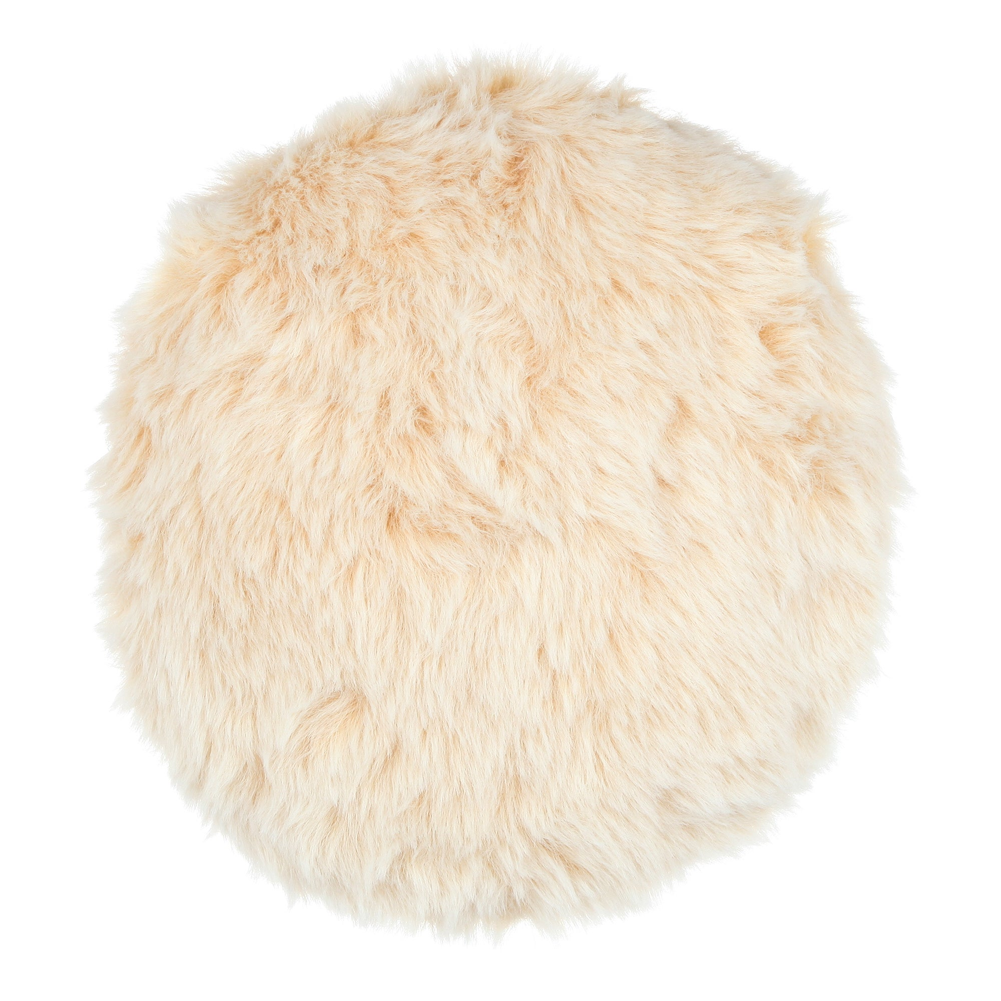 Luxury Faux Fur White Fox Round Cushion