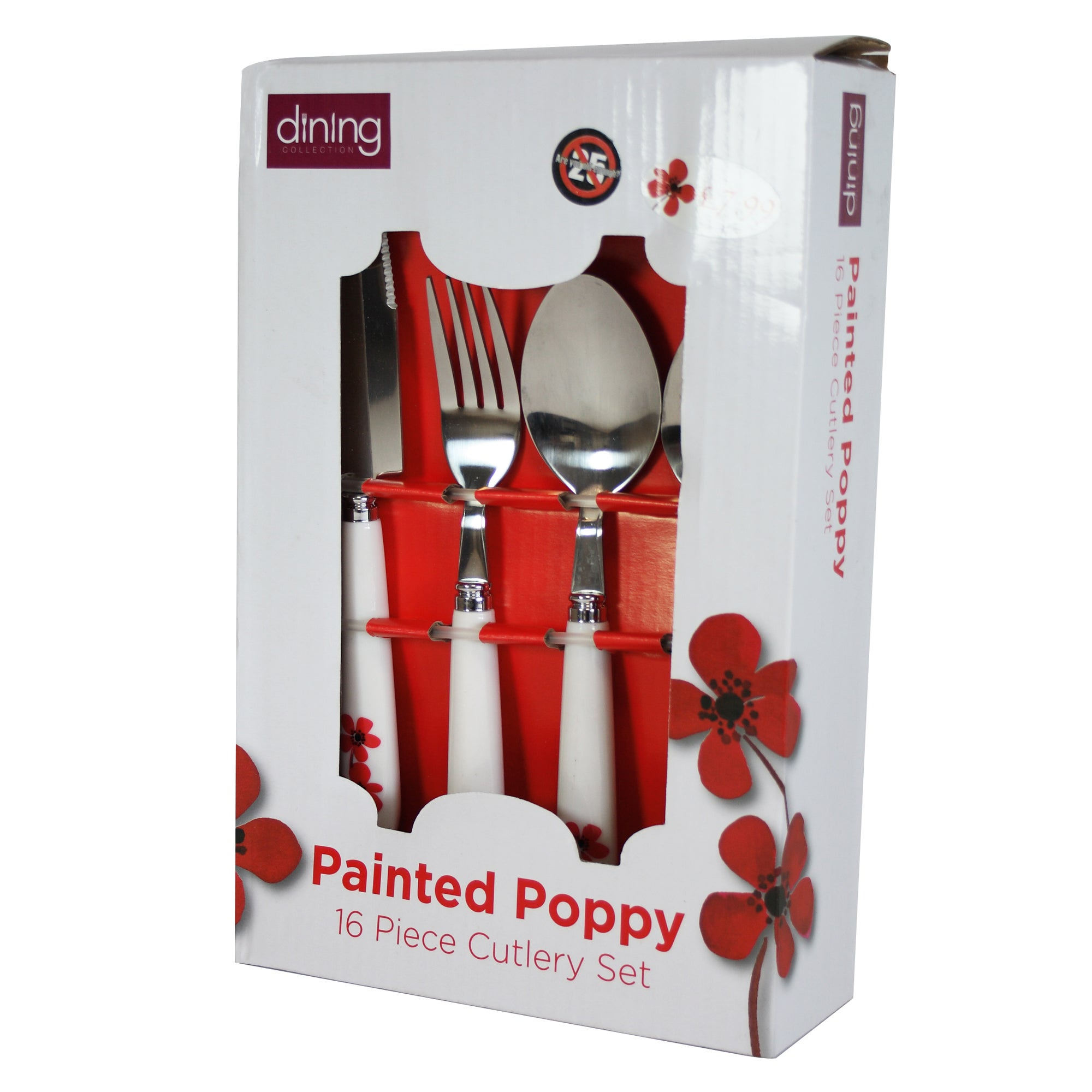 Red Painted Poppy 16 Piece Cutlery Set