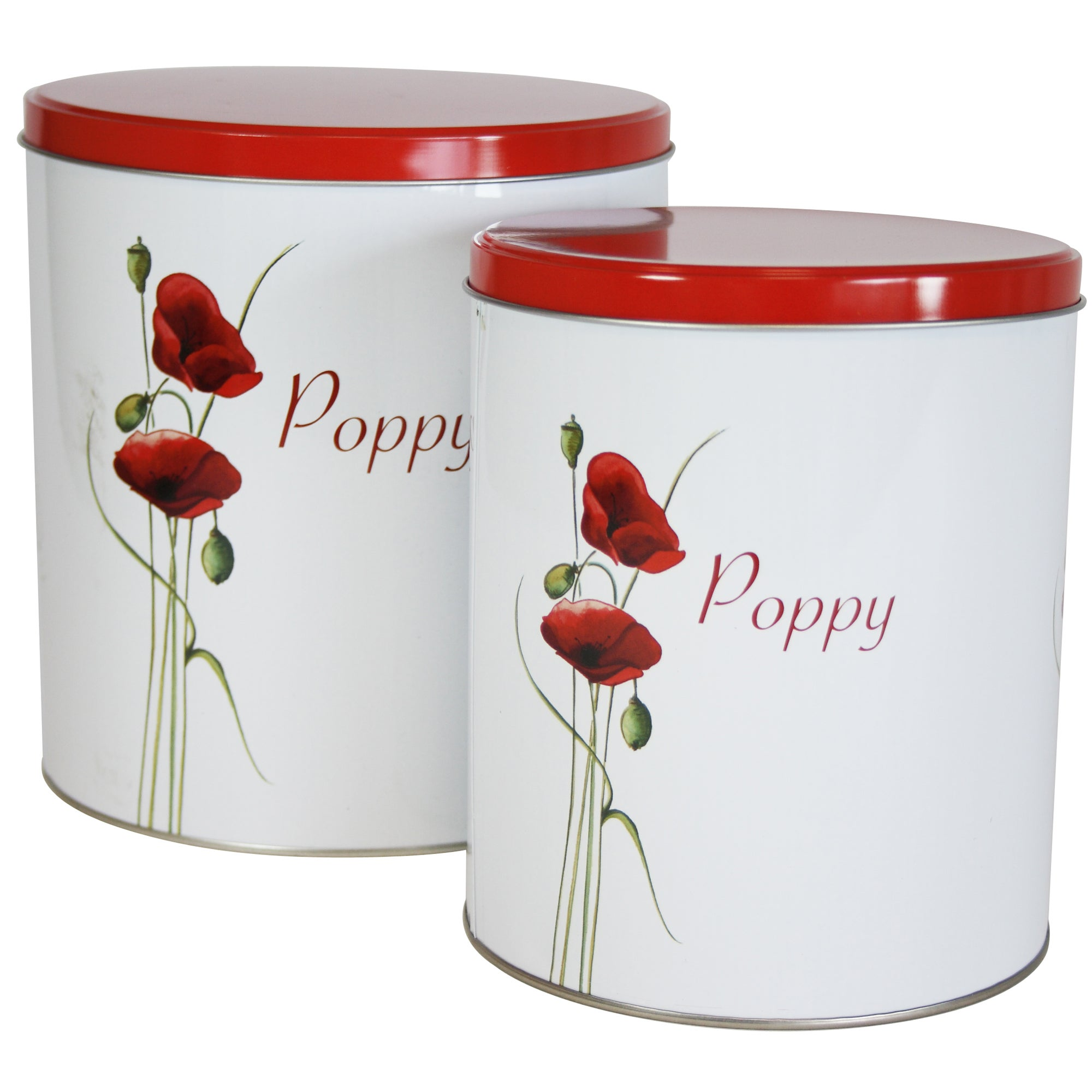 Poppy Collection Set of 2 Tall Storage Tins