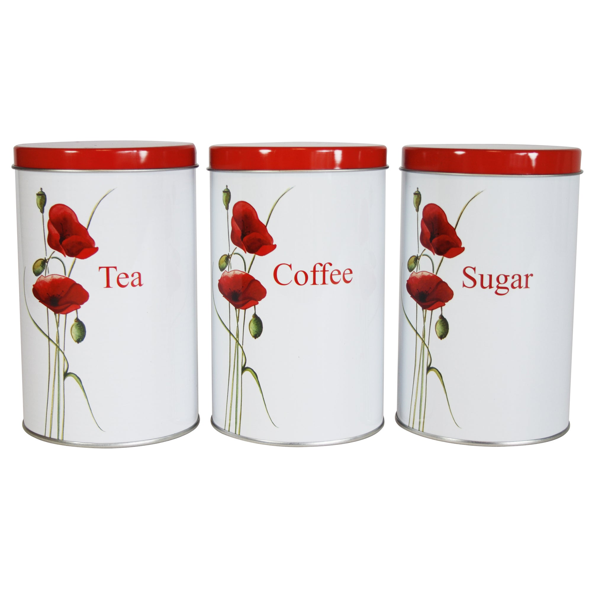 Poppy Collection Set of 3 Tall Coffee, Tea and Sugar Tins
