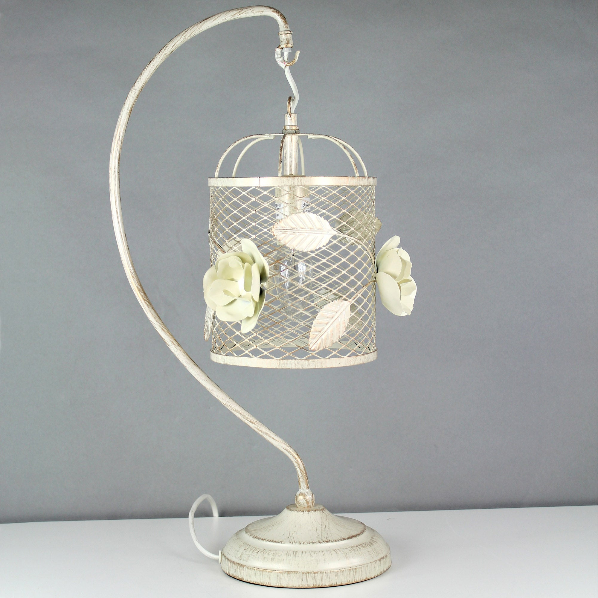 Vintage Rose Swan Neck Table Lamp