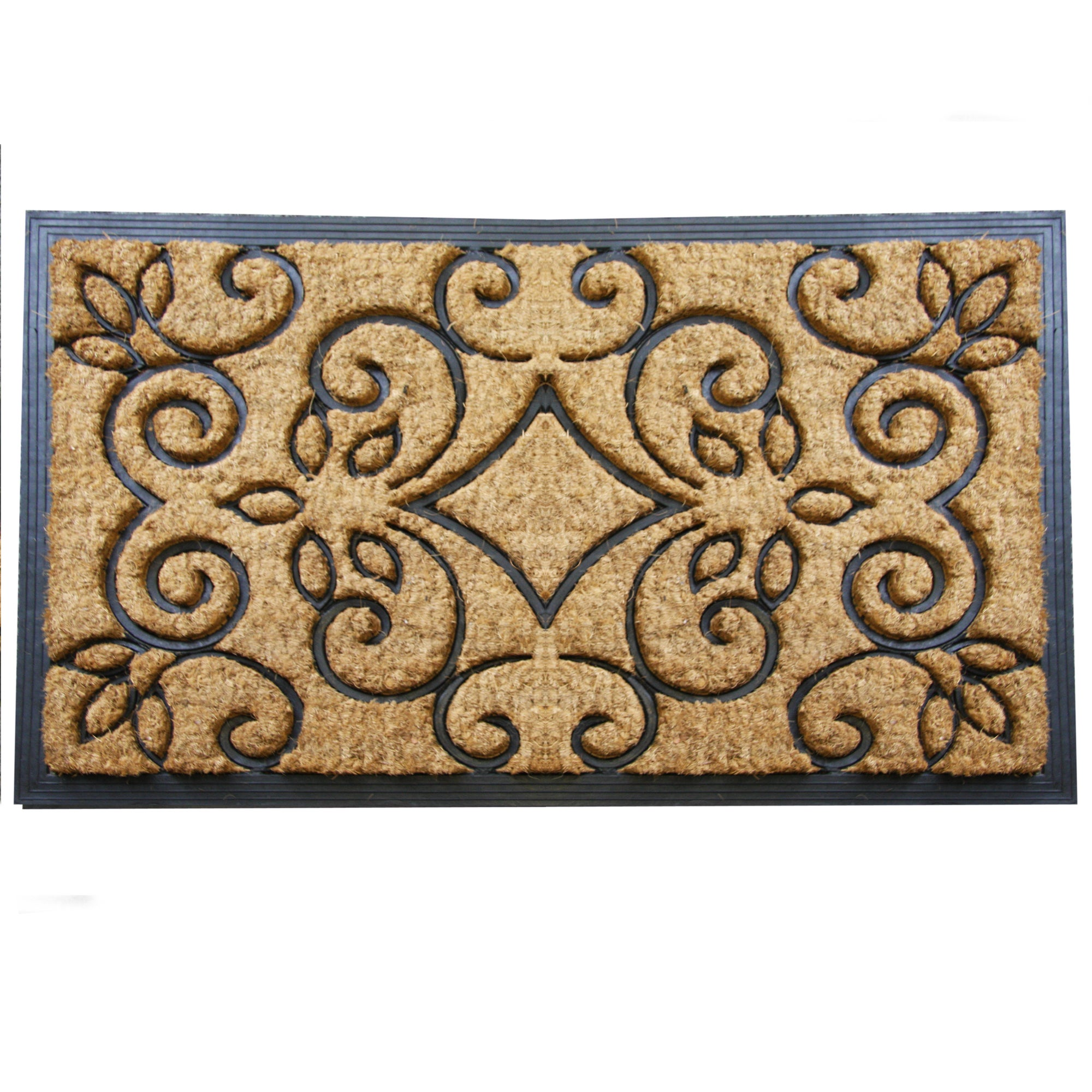Jumbo Scroll Rubber and Coir Doormat
