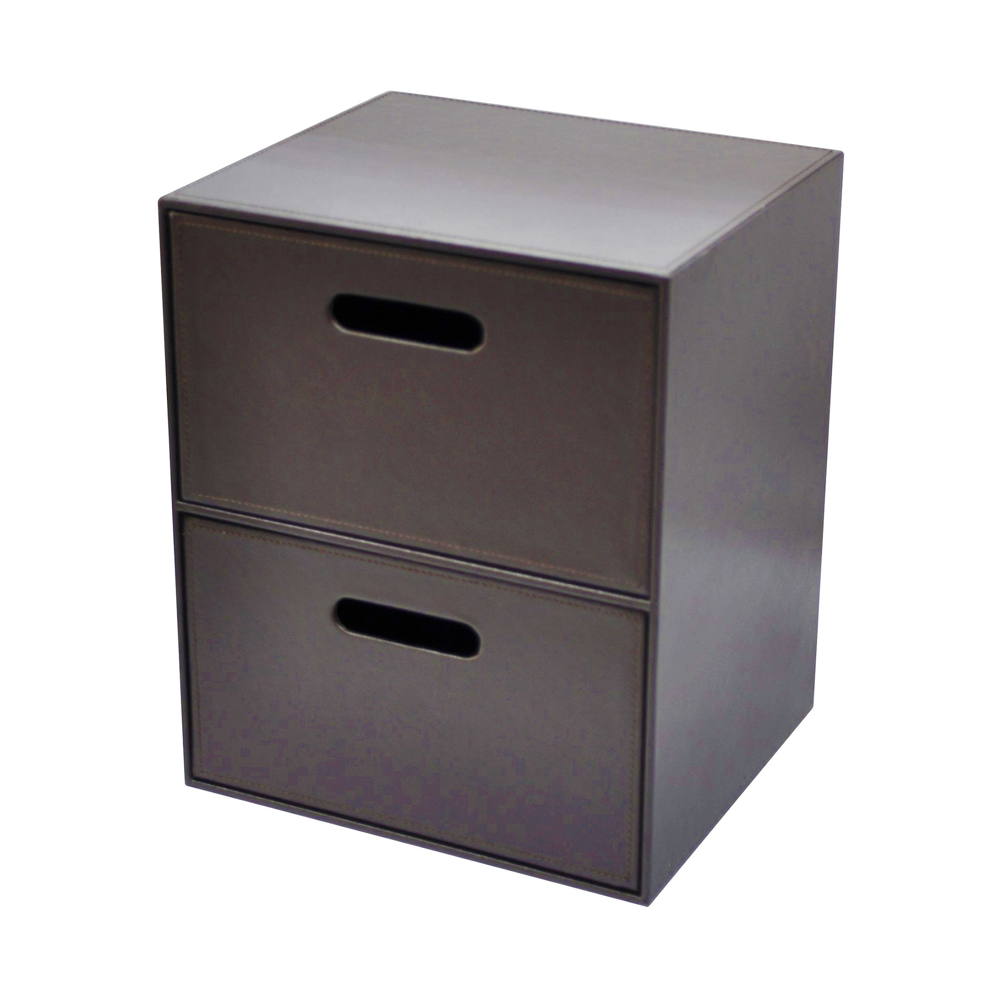Brown Faux Leather Collection 2 Drawer Unit