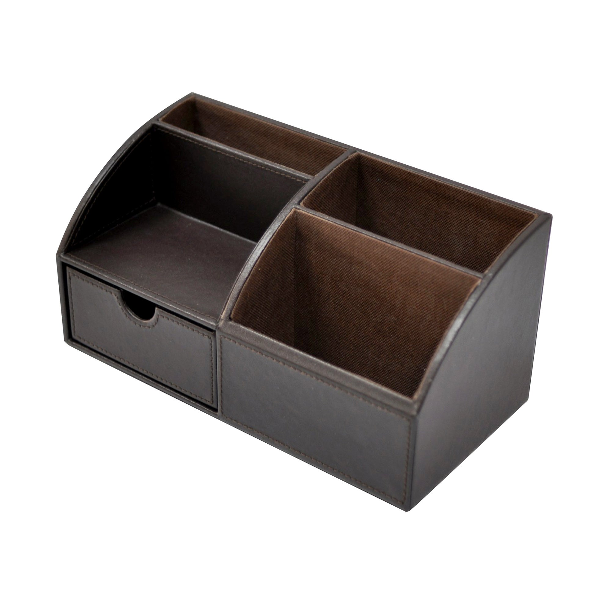 Brown Faux Leather Collection Desk Organiser