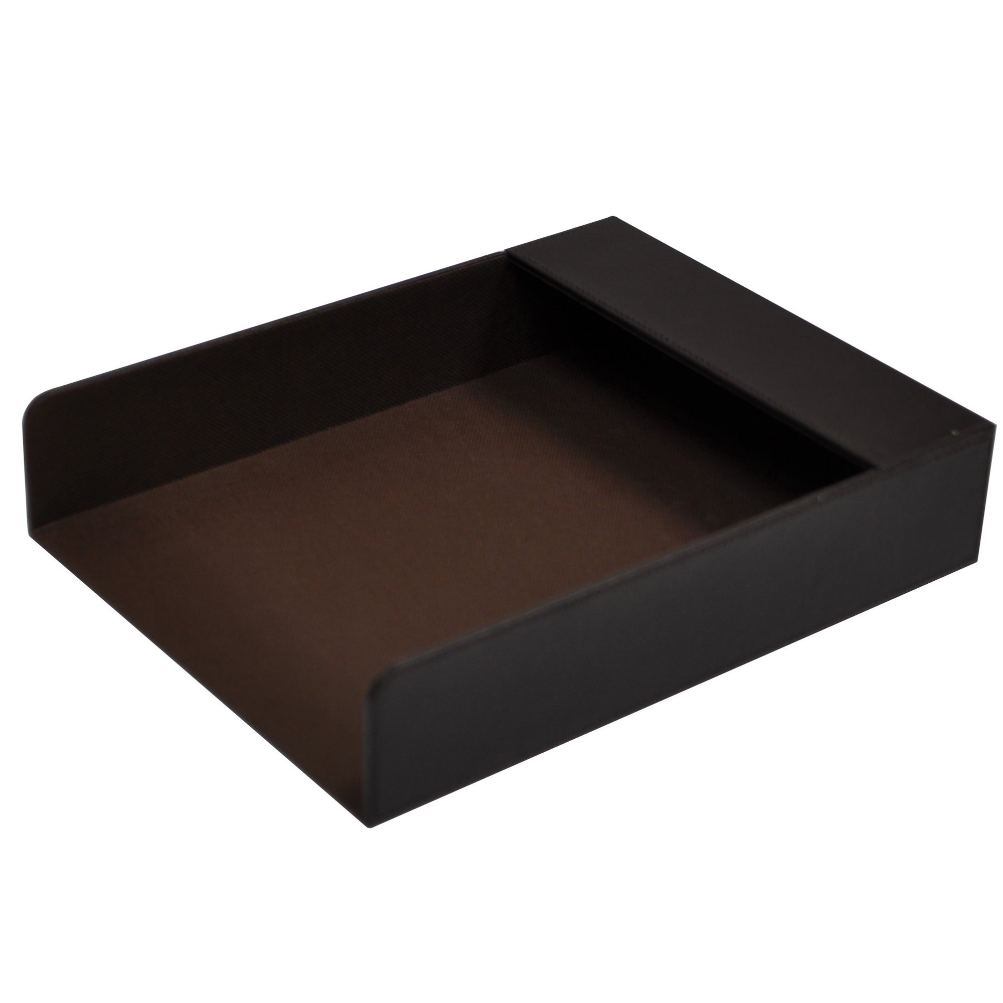 Brown Faux Leather Collection Document Tray