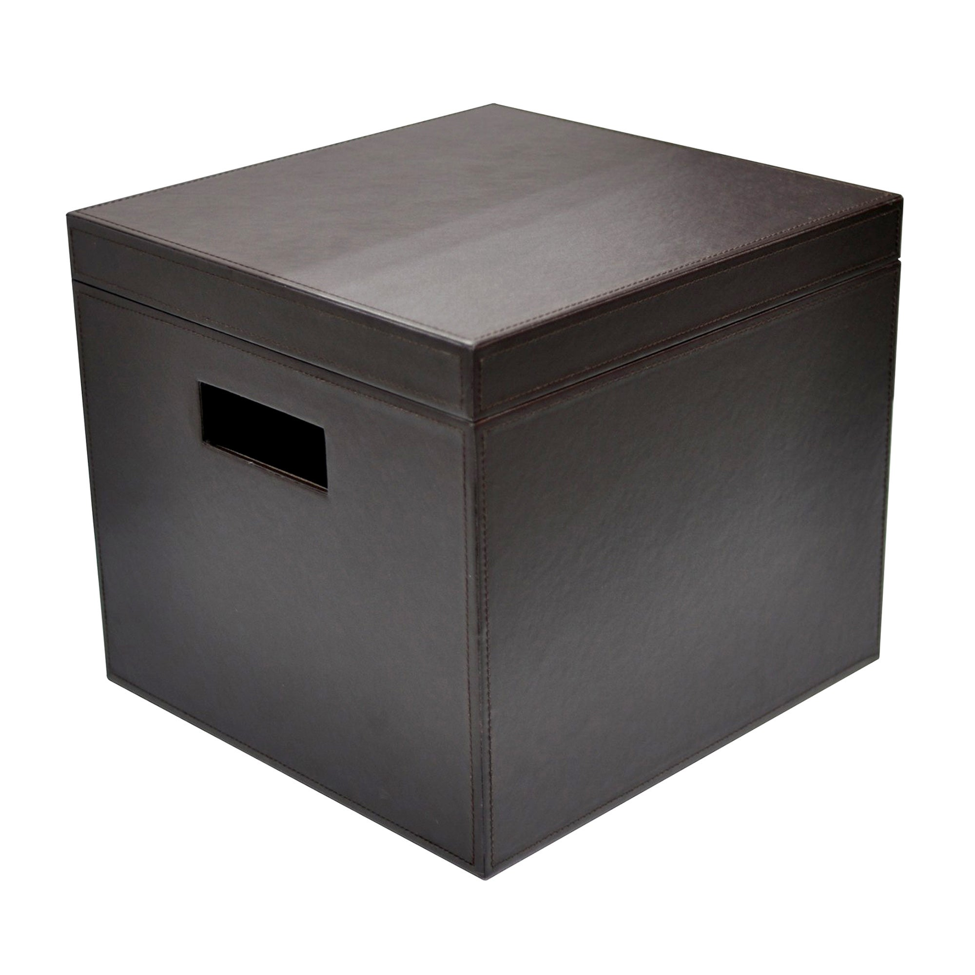 Brown Faux Leather Collection Filing Box