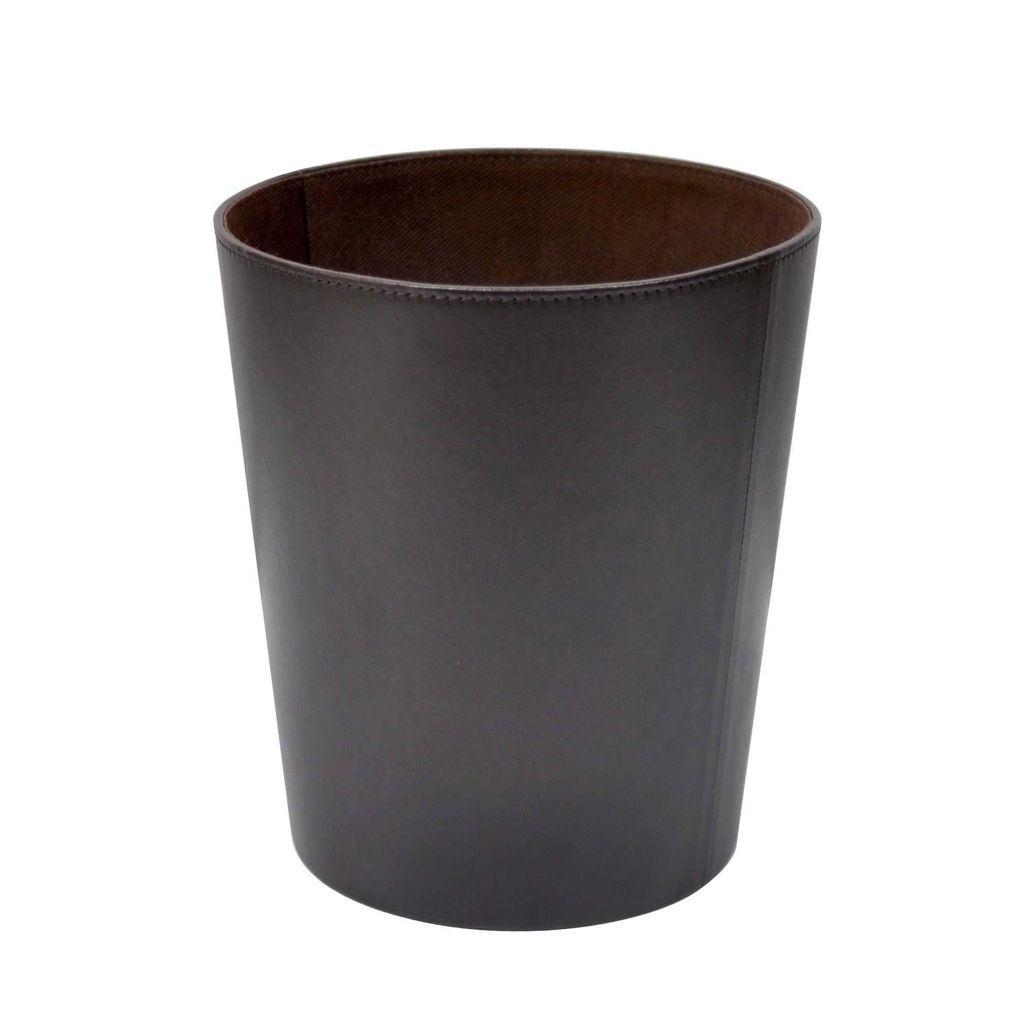 Brown Faux Leather Collection Waste Bin