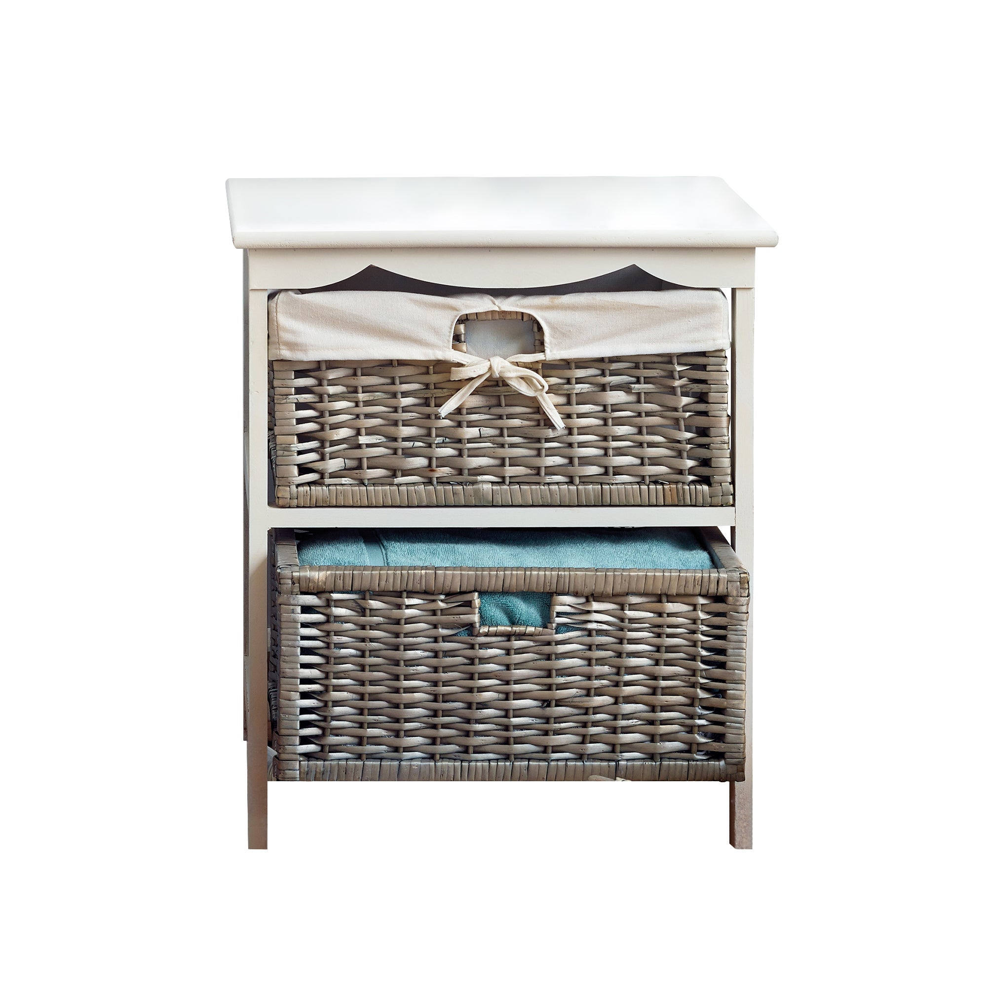 Grey Split Willow 2 Drawer Tower