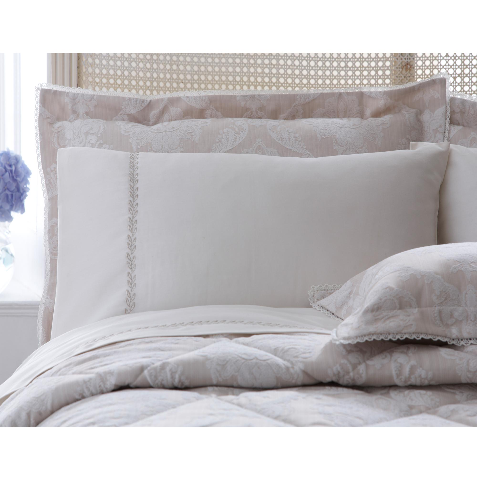 Dorma Natural Aveline Collection Embroidered Pillowcase