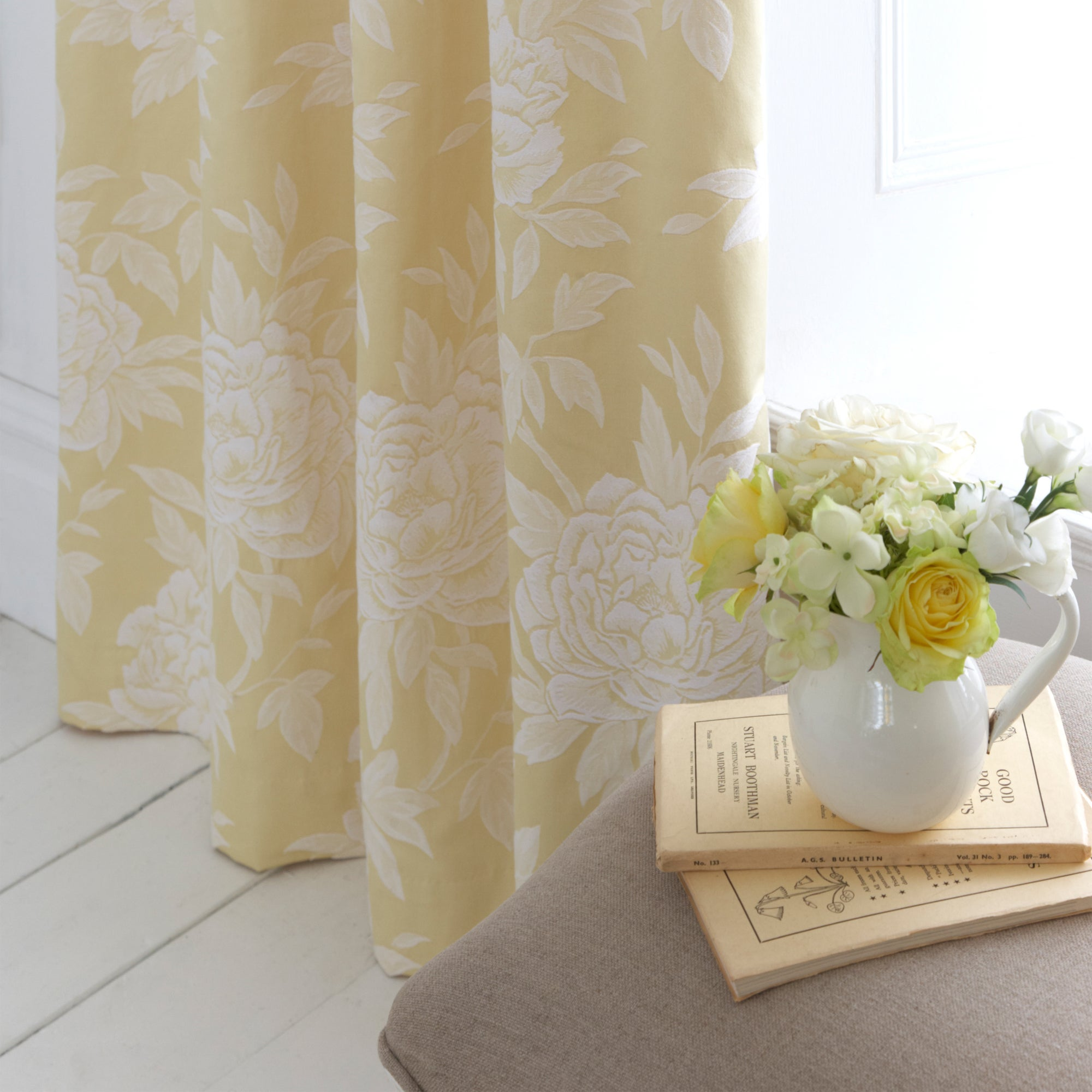 Dorma Lemon Chatsworth Lined Pencil Pleat Curtains