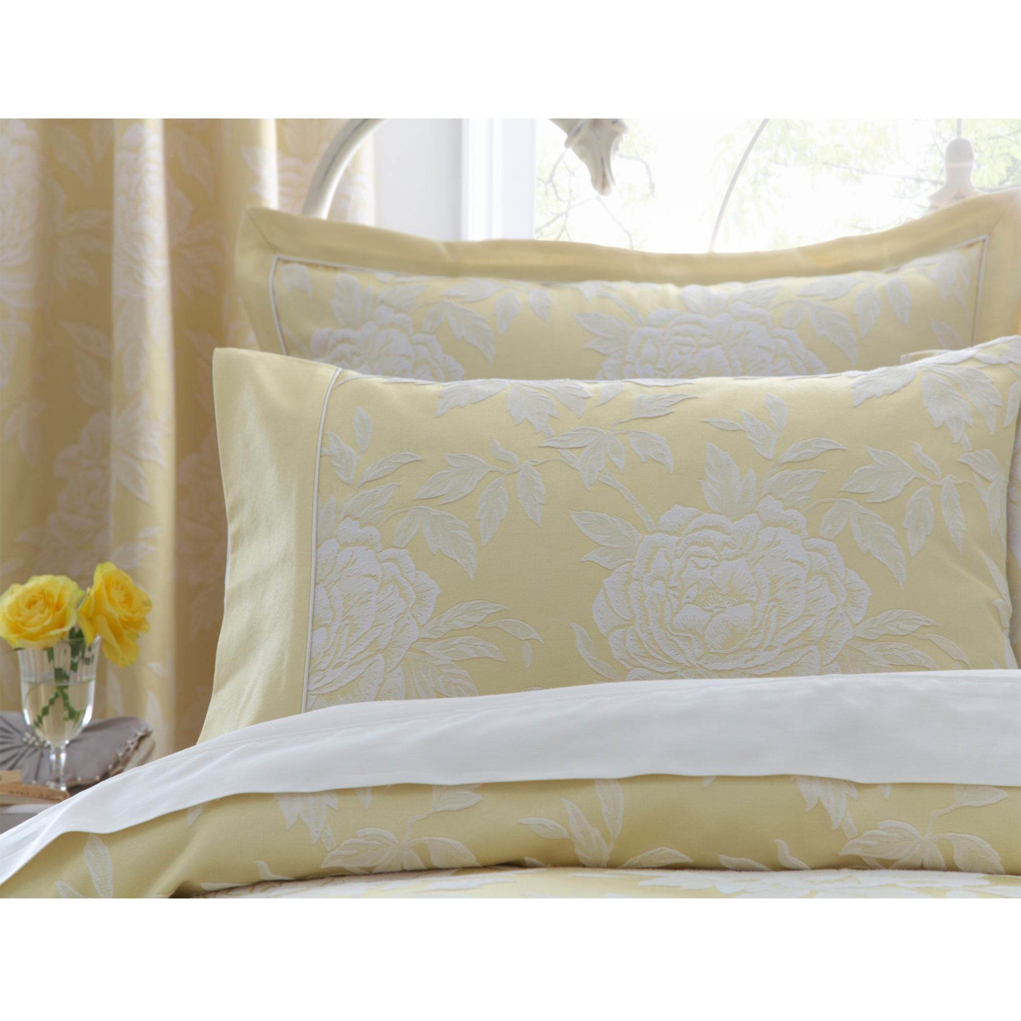 Dorma Lemon Chatsworth Collection Cuffed Pillowcase
