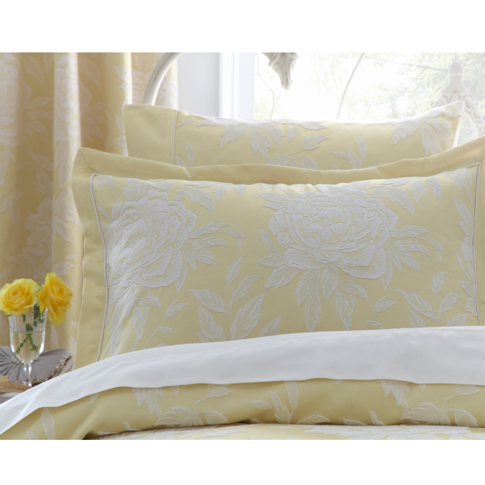 Dorma Lemon Chatsworth Collection Oxford Pillowcase