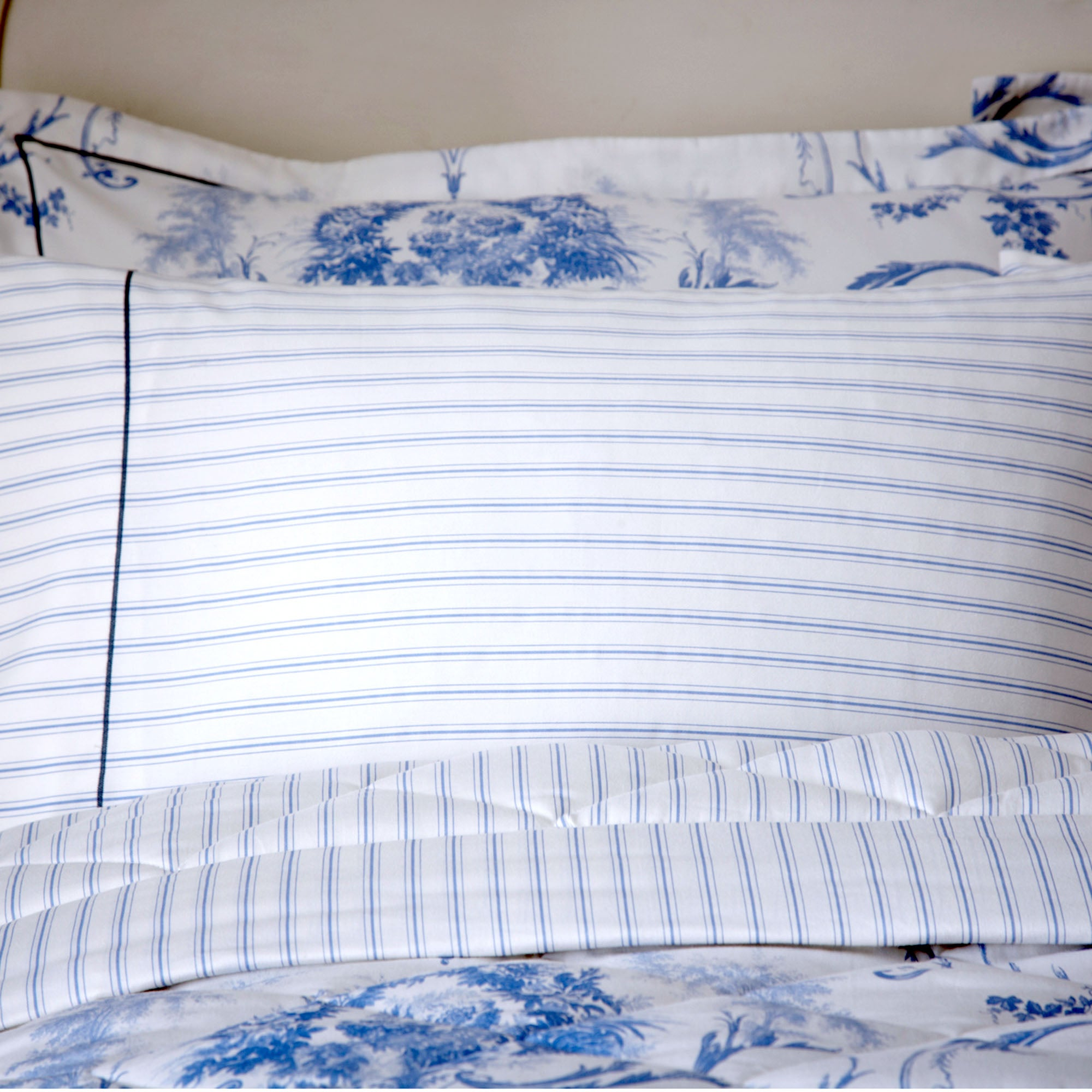 Dorma Blue Toile Collection Cuffed Pillowcase