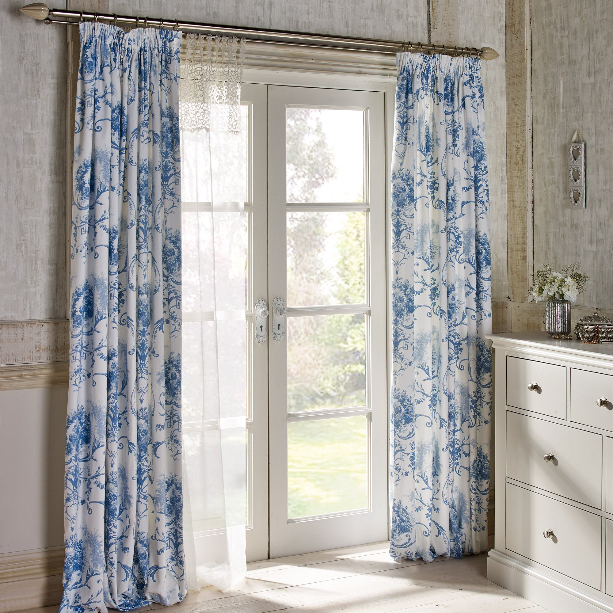 Dorma Blue Toile Lined Pencil Pleat Curtains