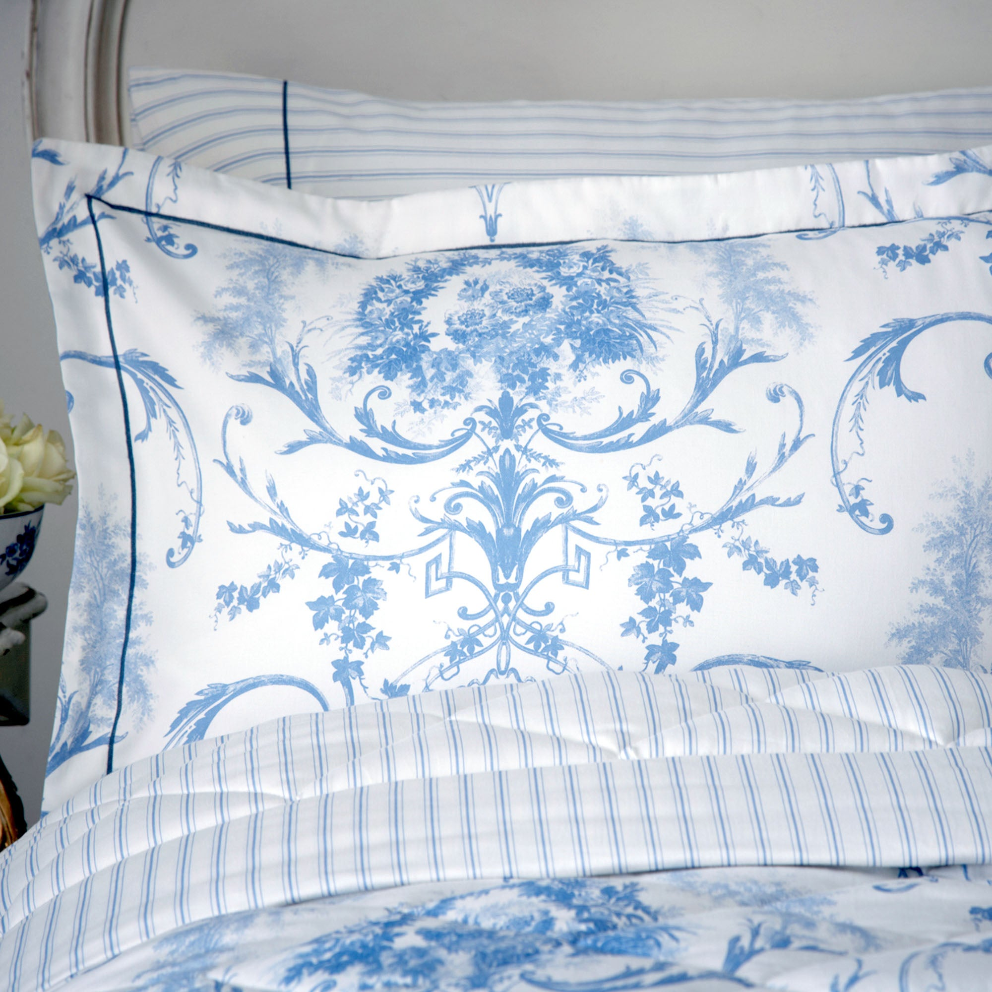 Dorma Blue Toile Collection Oxford Pillowcase