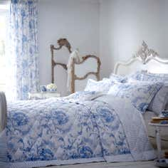 Dorma Blue Toile Collection Quilted Throw