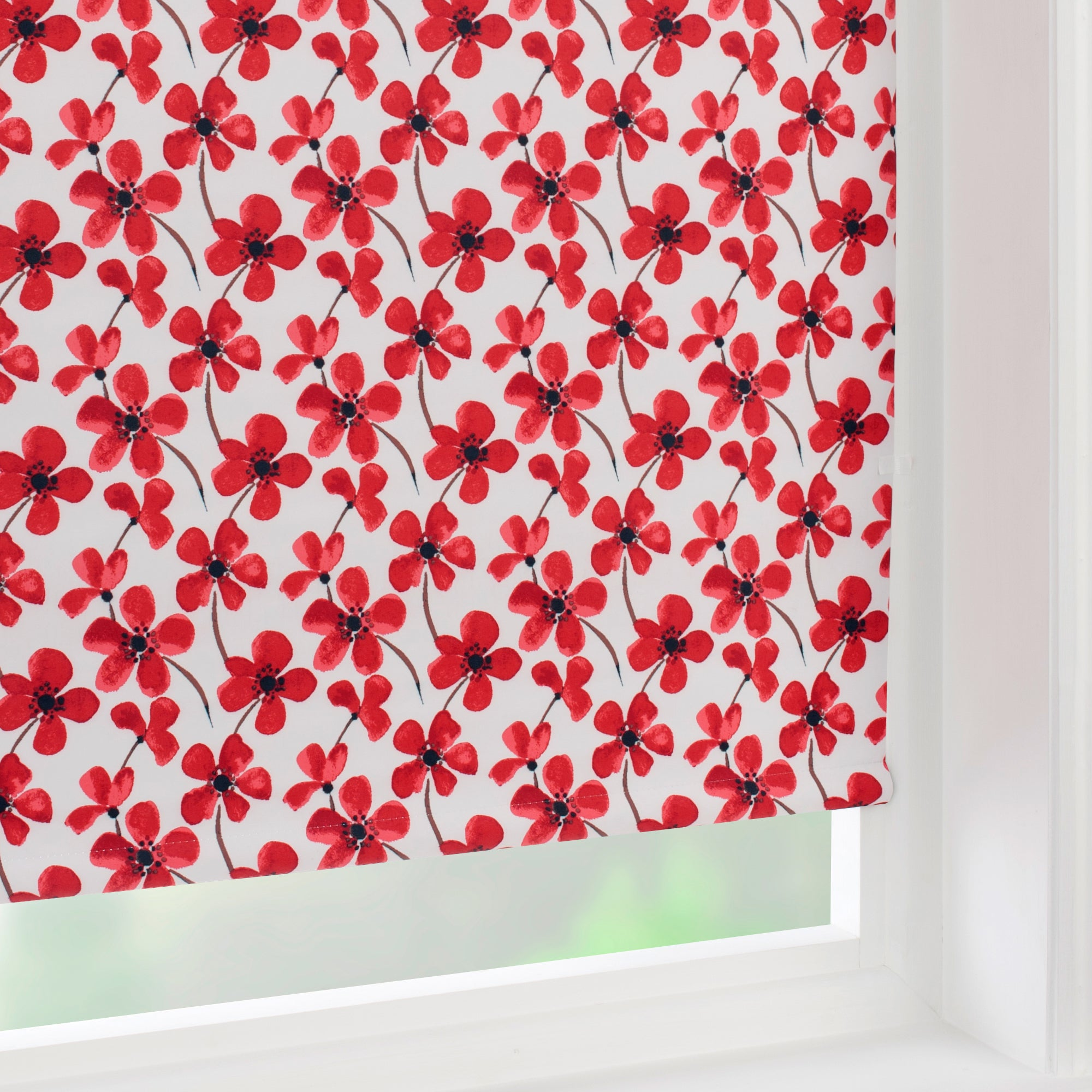 Red Painted Poppy Collection Blackout Roller Blind