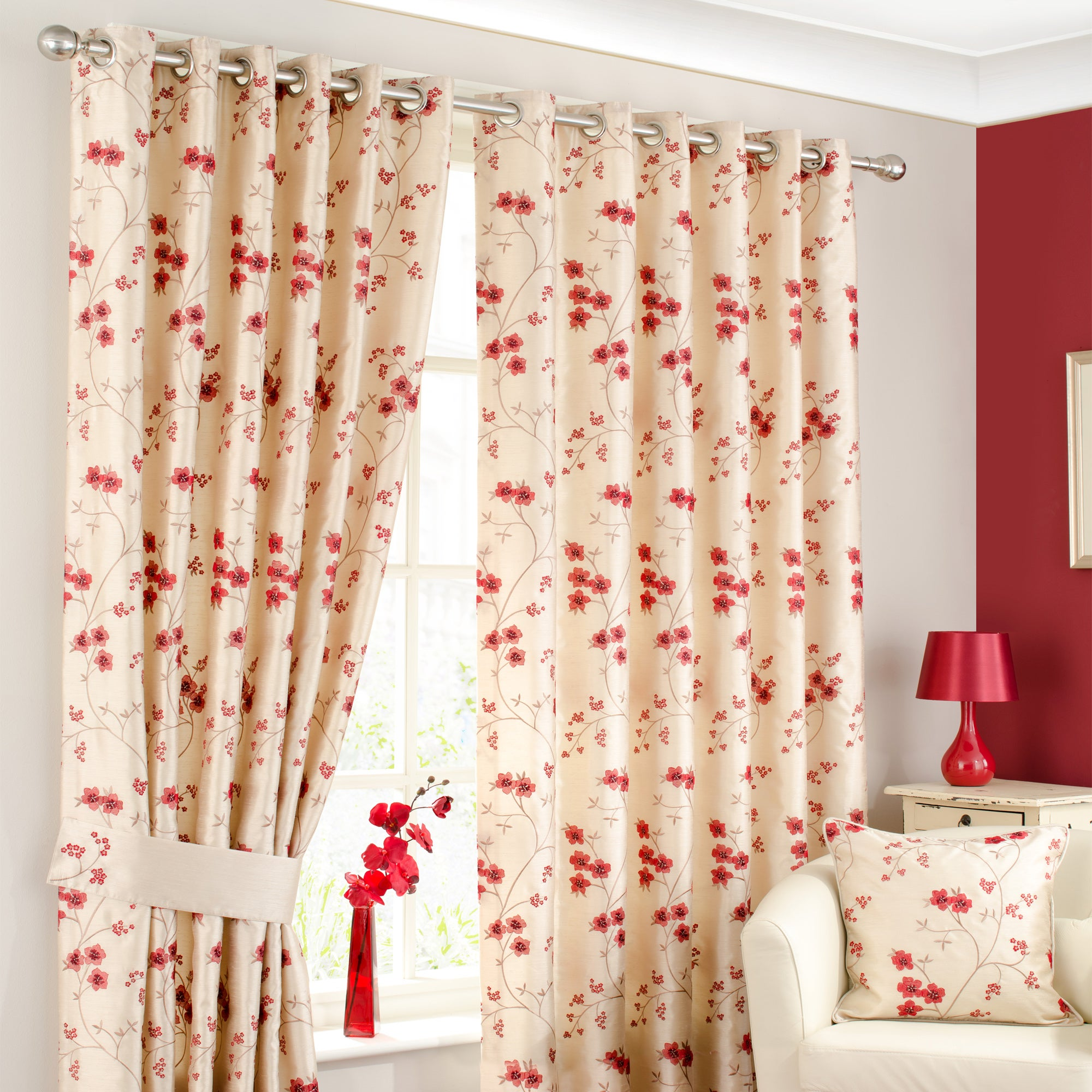 Waters and Noble Red Melody Curtain Collection