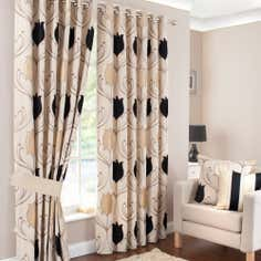 Black Lalique Lined Eyelet Curtains