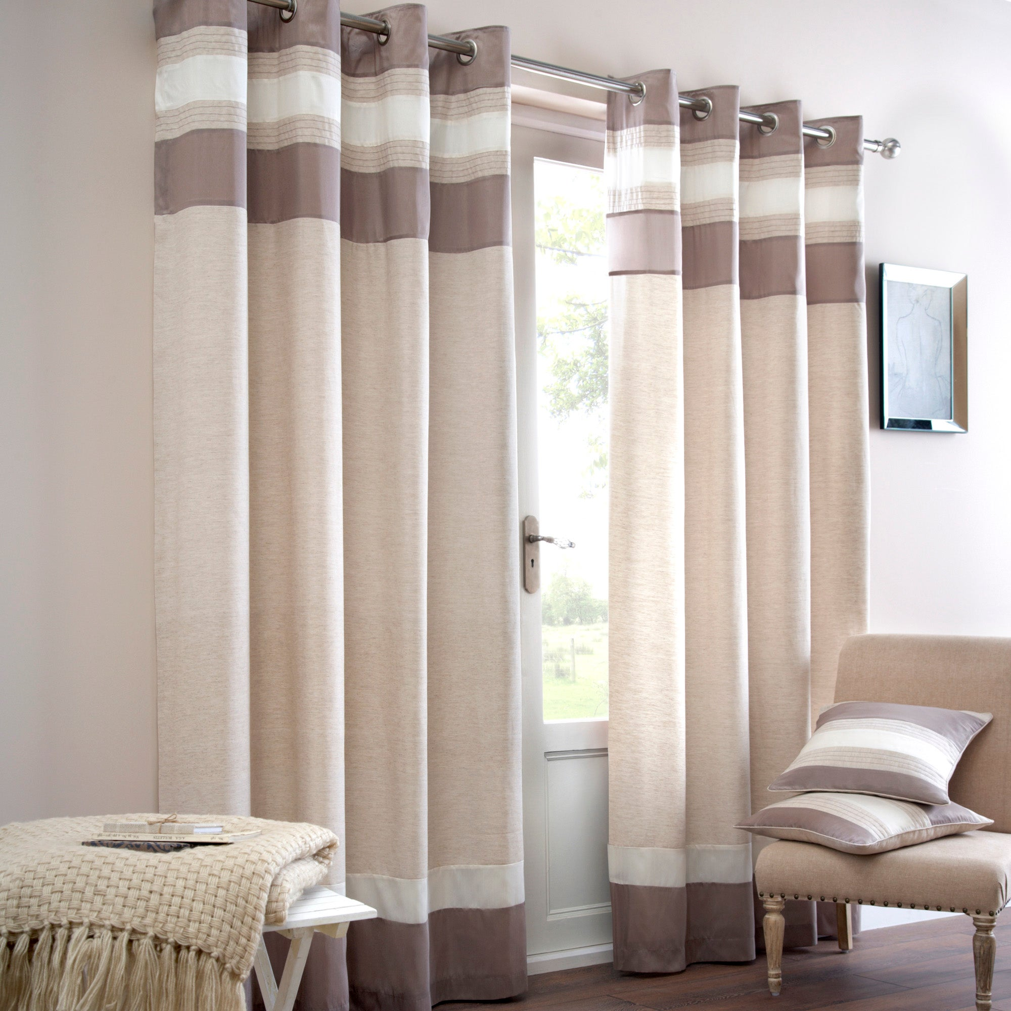 Natural Alban Lined Eyelet Curtains