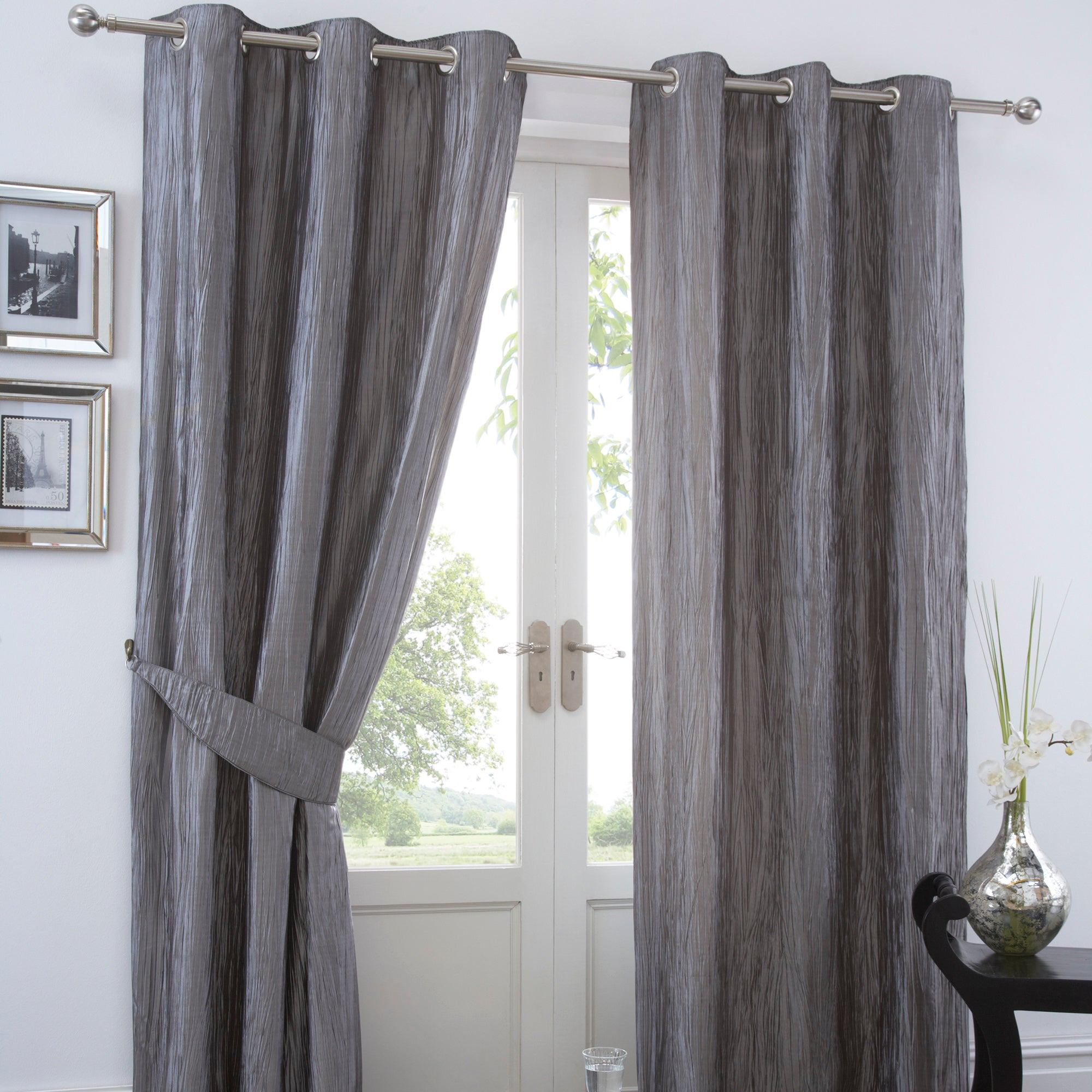 Silver crushed taffeta lined eyelet curtains dunelm for Space fabric dunelm