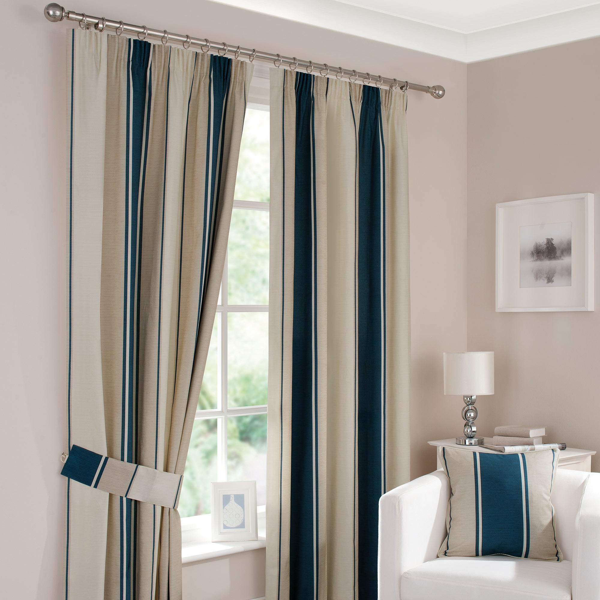Navy Milan Pencil Pleat Curtains