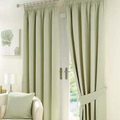 Sage Omega Lined Pencil Pleat Curtains