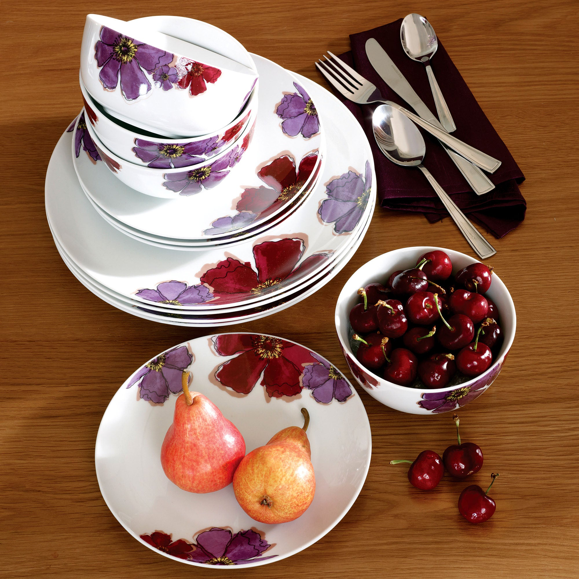 Mulberry Flower Collection 12 Piece Dinner Set