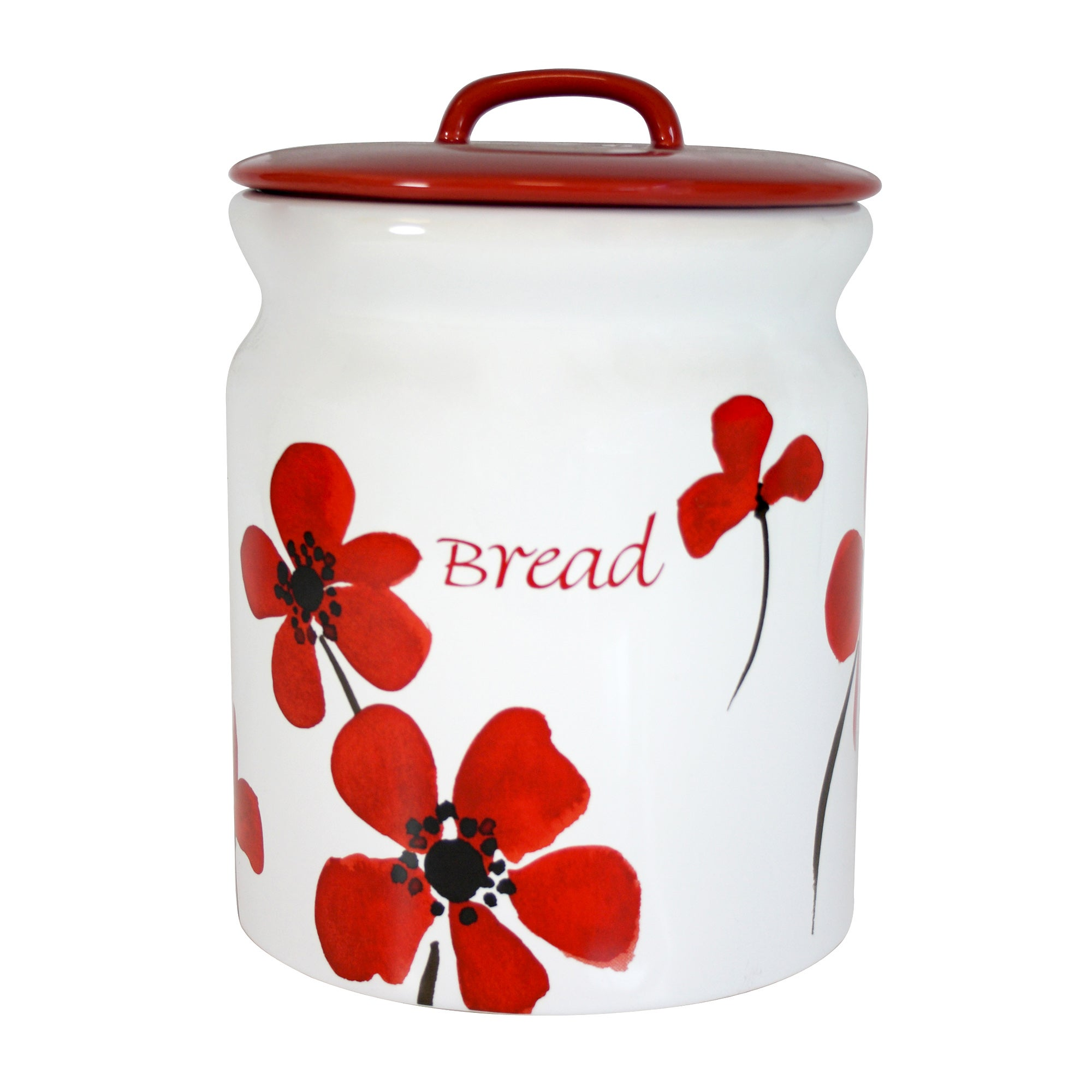 Red Painted Poppy Collection Bread Bin