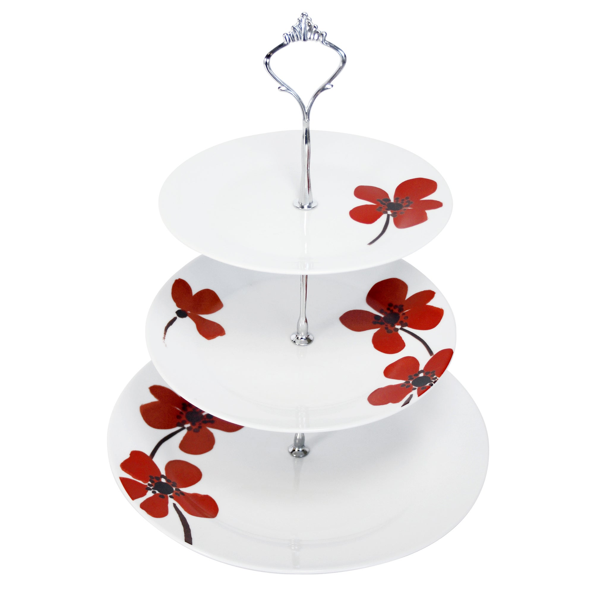Red Painted Poppy Collection Cake Stand