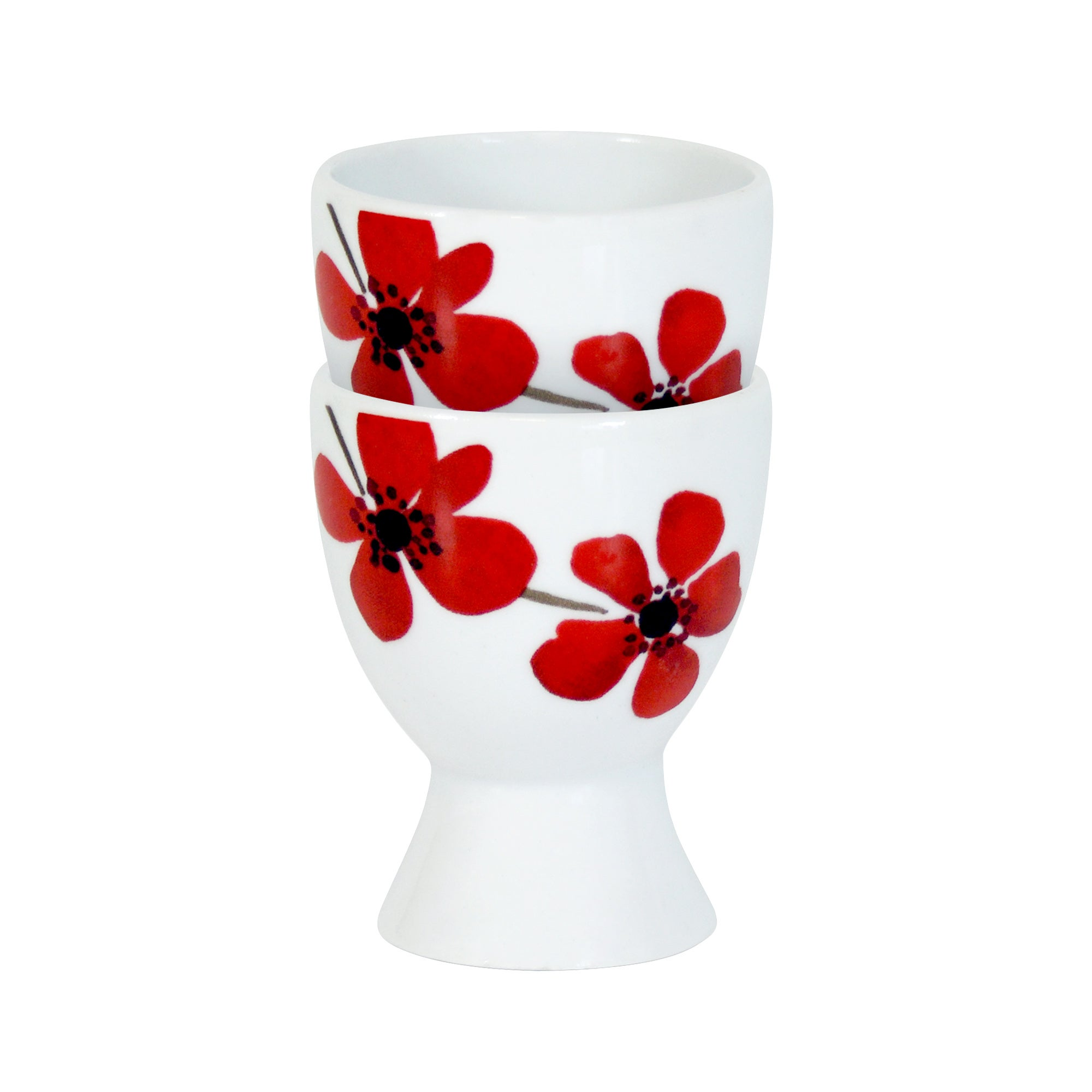 Red Painted Poppy Collection Set of 2 Egg Cups